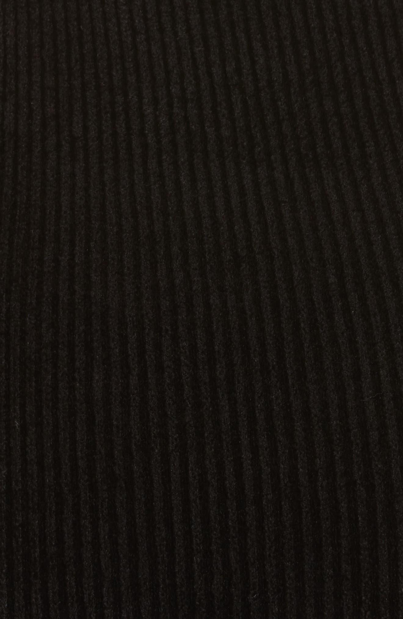 Ribbed Velveteen Body-Con Dress,                             Alternate thumbnail 5, color,                             001