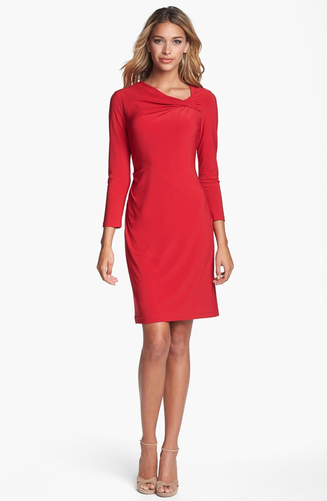 ADRIANNA PAPELL,                             Front Twist Jersey Sheath Dress,                             Main thumbnail 1, color,                             602