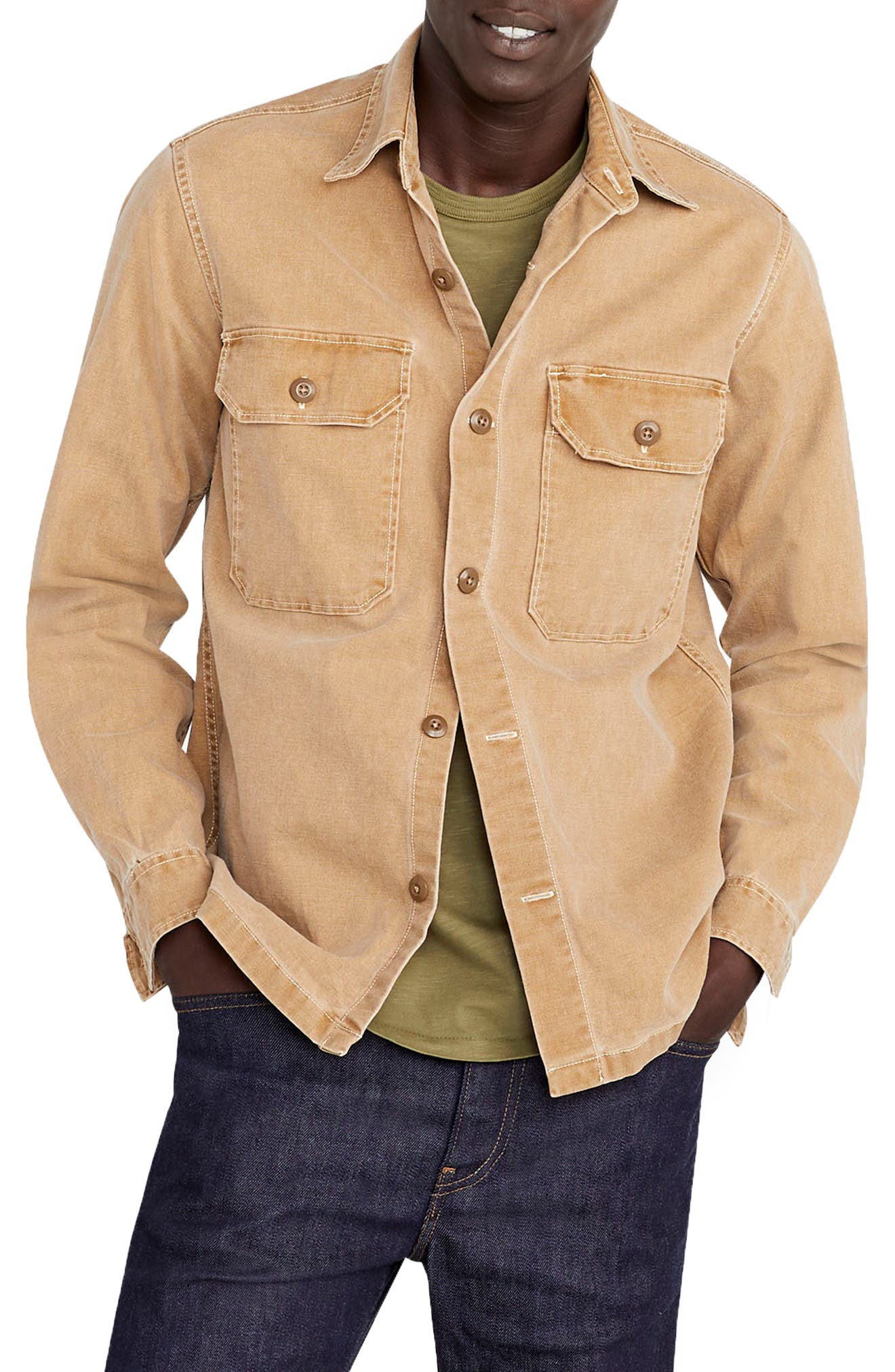 Wallace & Barnes Stretch Duck Canvas Shirt Jacket,                         Main,                         color, 200