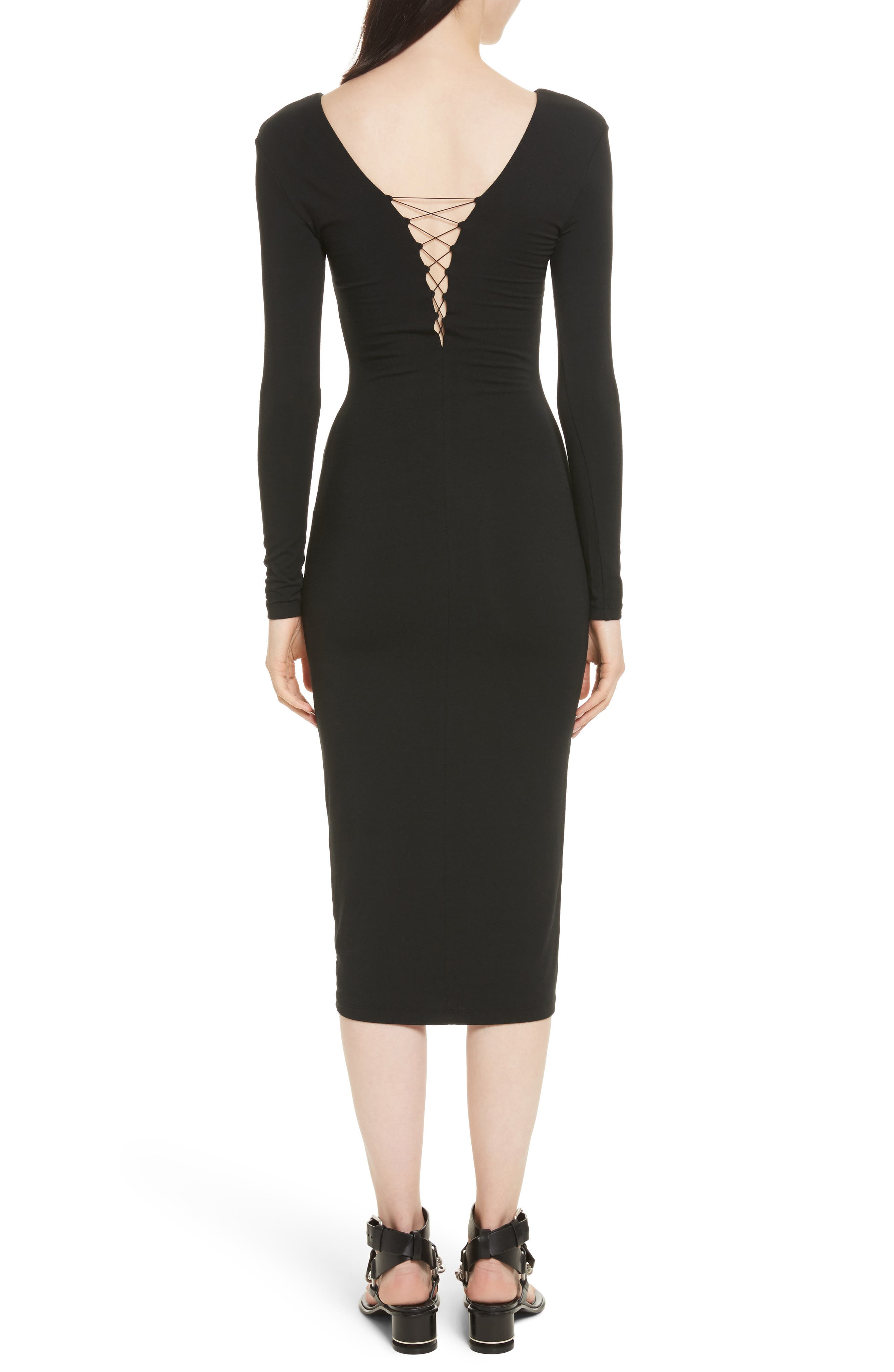 T by Alexander Wang Lace-Up Stretch Jersey Midi Dress,                             Alternate thumbnail 2, color,                             001