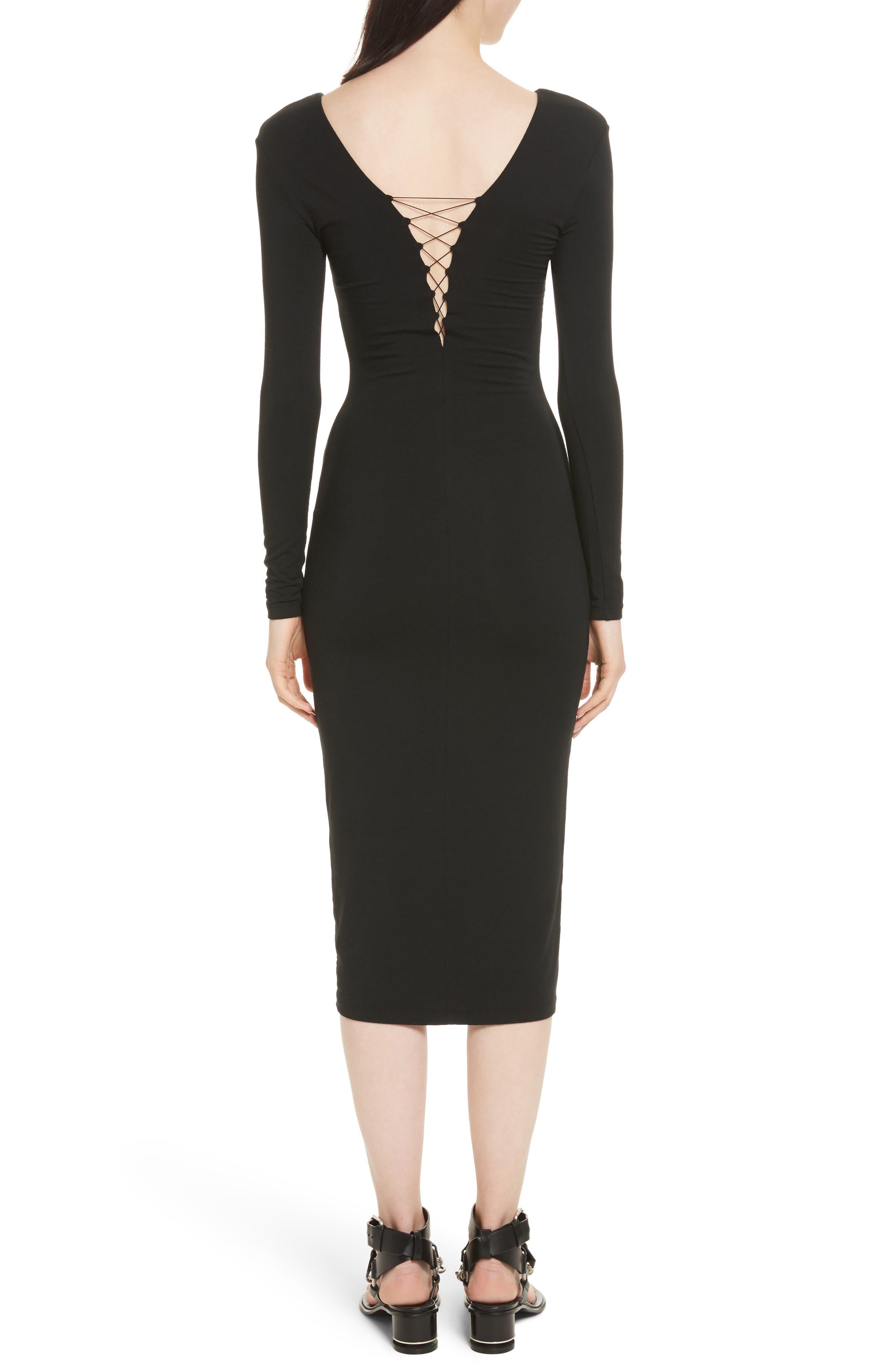 Lace-Up Stretch Jersey Midi Dress,                             Alternate thumbnail 2, color,                             001
