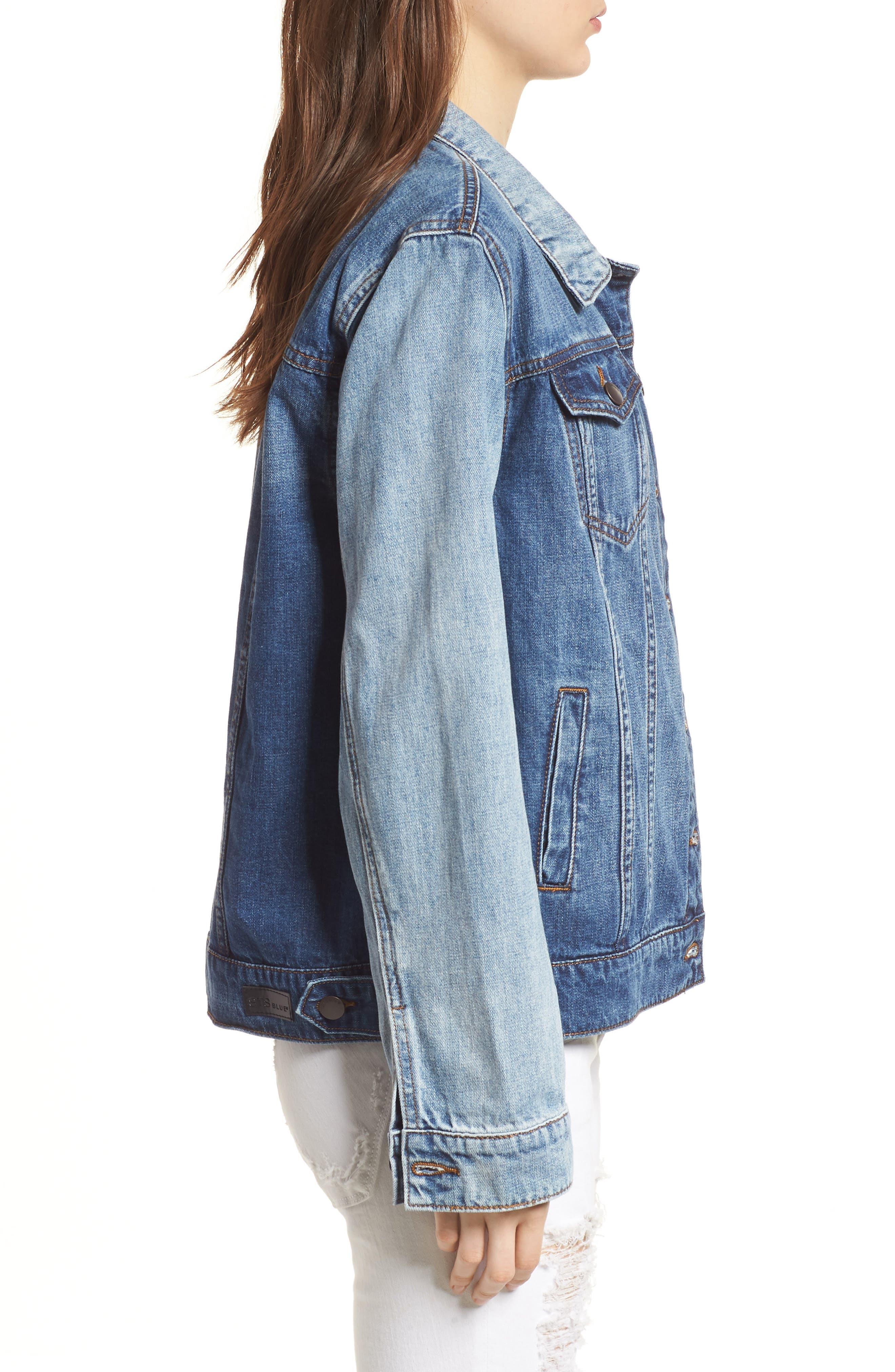 Oversize Colorblock Denim Jacket,                             Alternate thumbnail 3, color,                             400