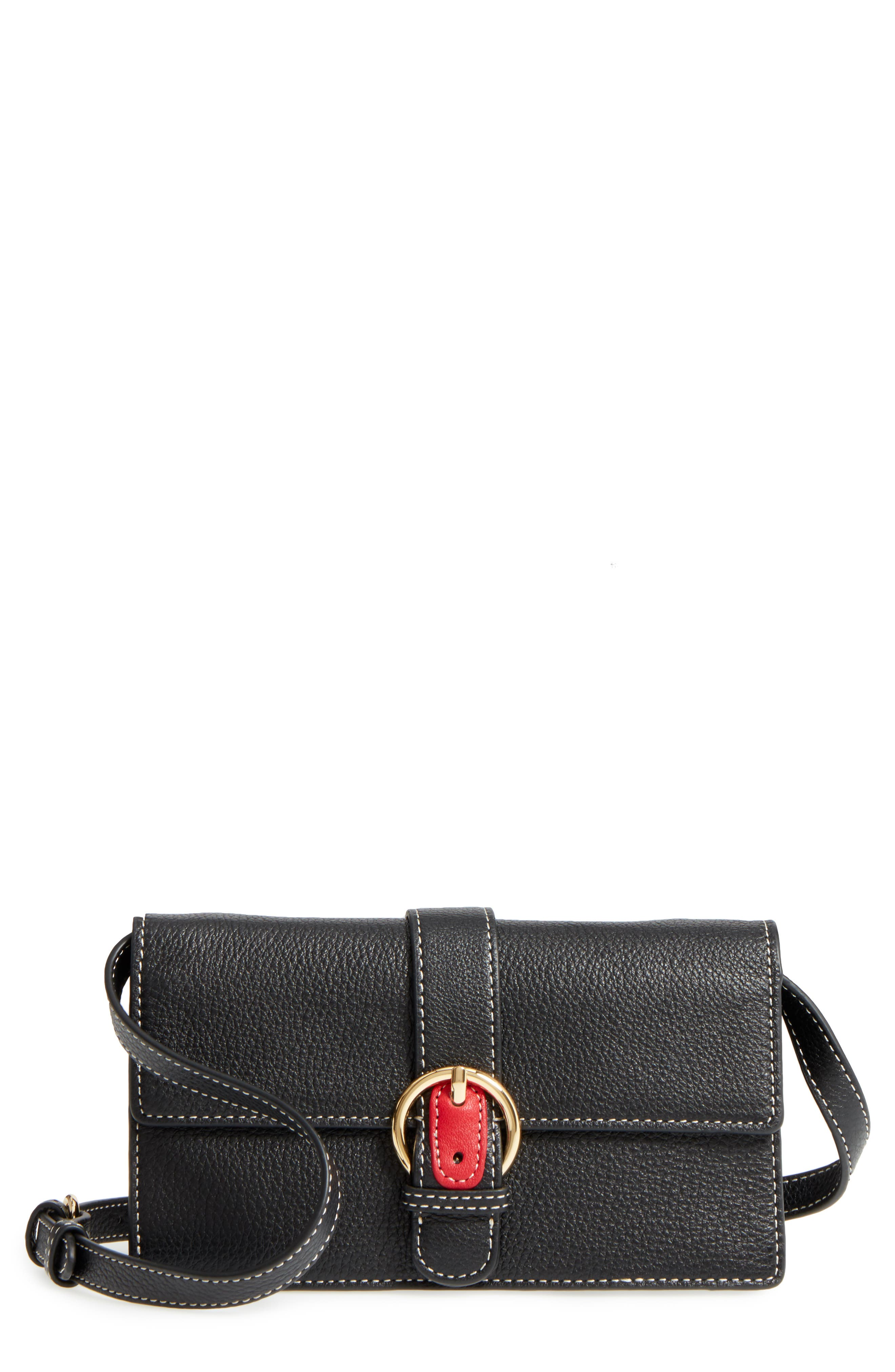 Calfskin Leather Crossbody Wallet,                         Main,                         color, 001
