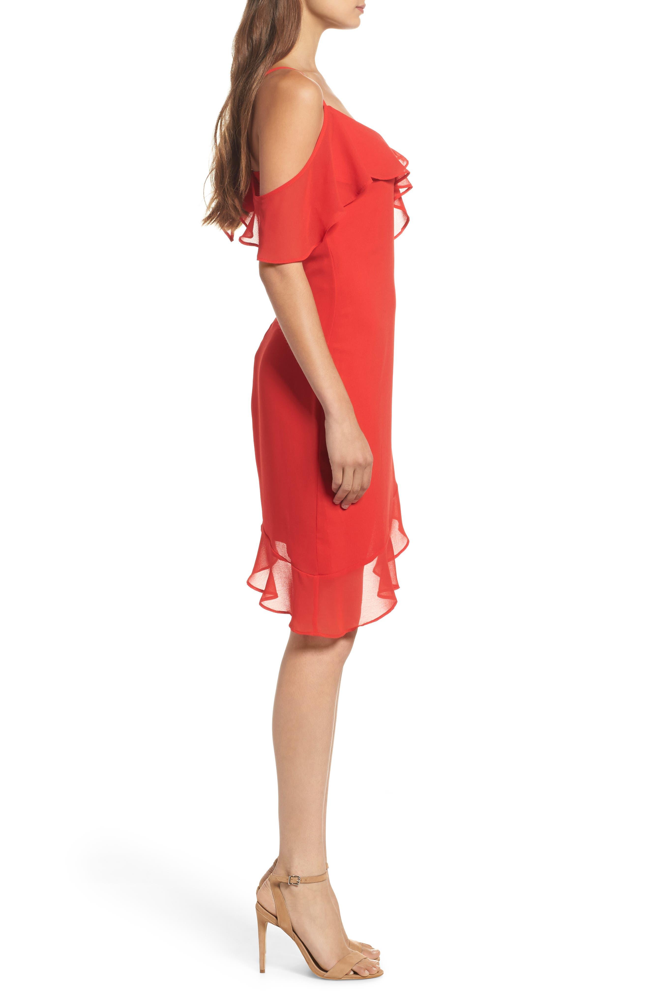 Ivie Asymmetrical Sheath Dress,                             Alternate thumbnail 3, color,                             624