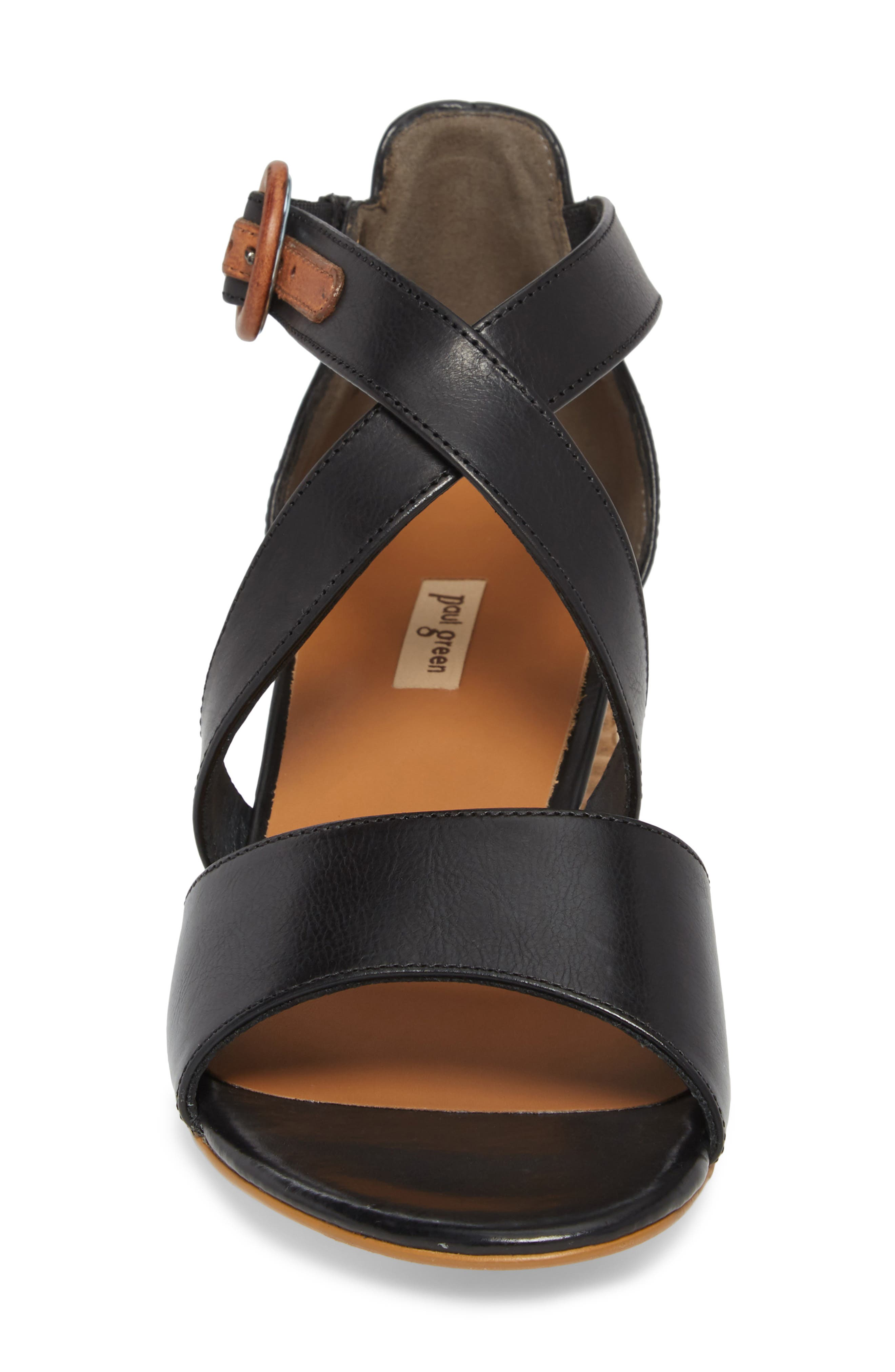 Sally Quarter Strap Sandal,                             Alternate thumbnail 4, color,                             BLACK LEATHER