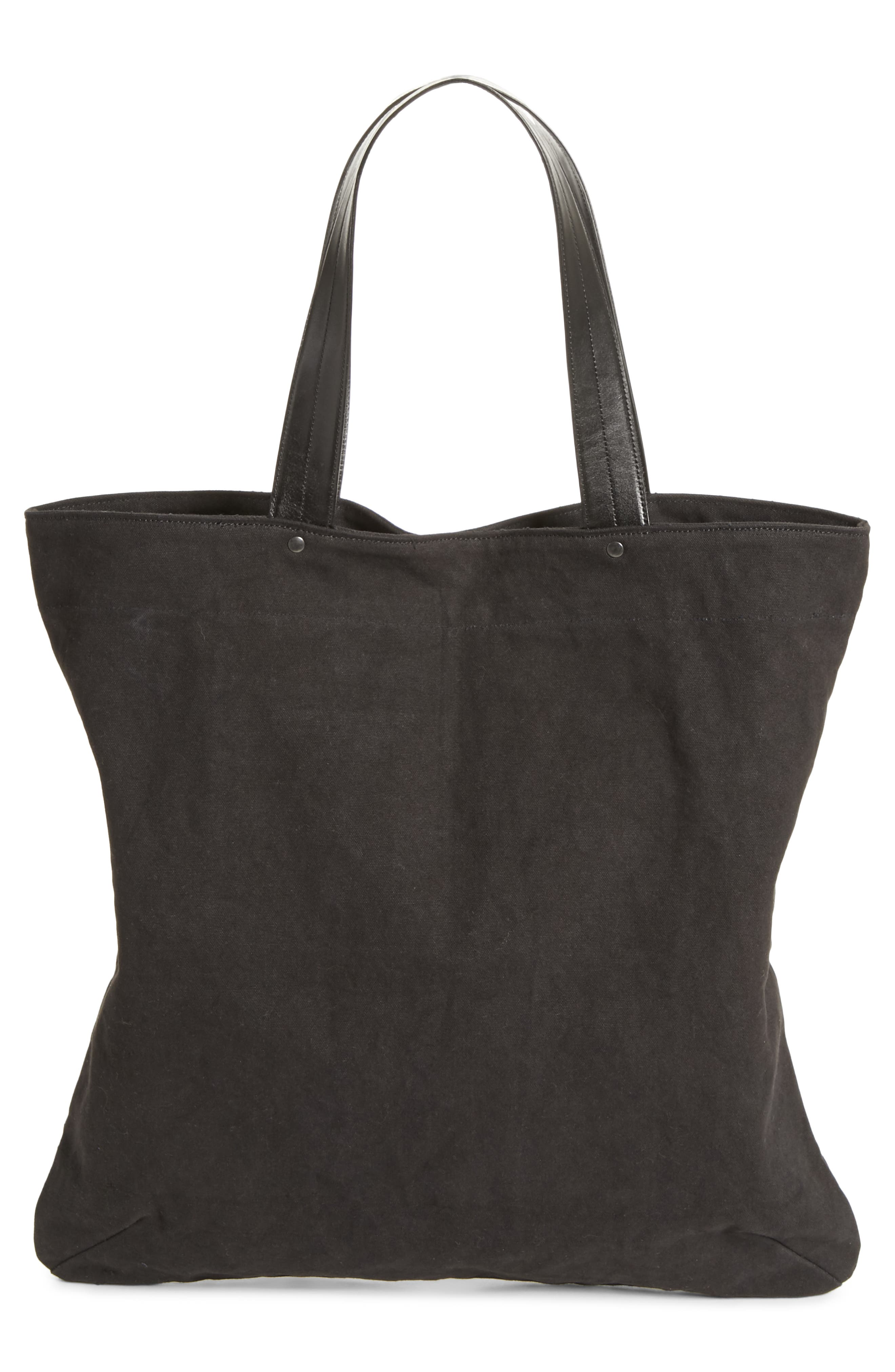 Embroidered Canvas Tote Bag,                             Alternate thumbnail 3, color,                             001