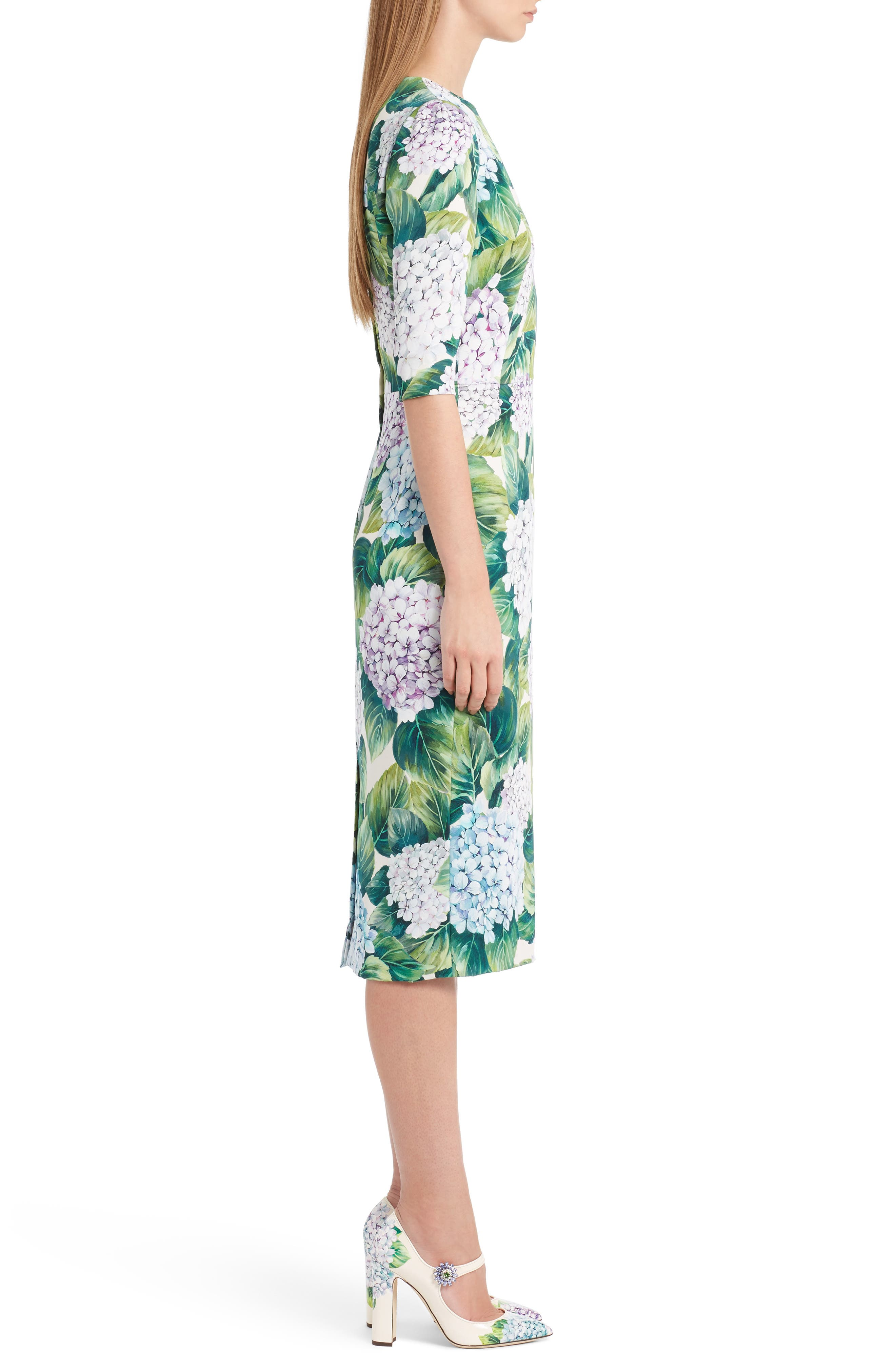 Hydrangea Print Stretch Silk Dress,                             Alternate thumbnail 3, color,                             300