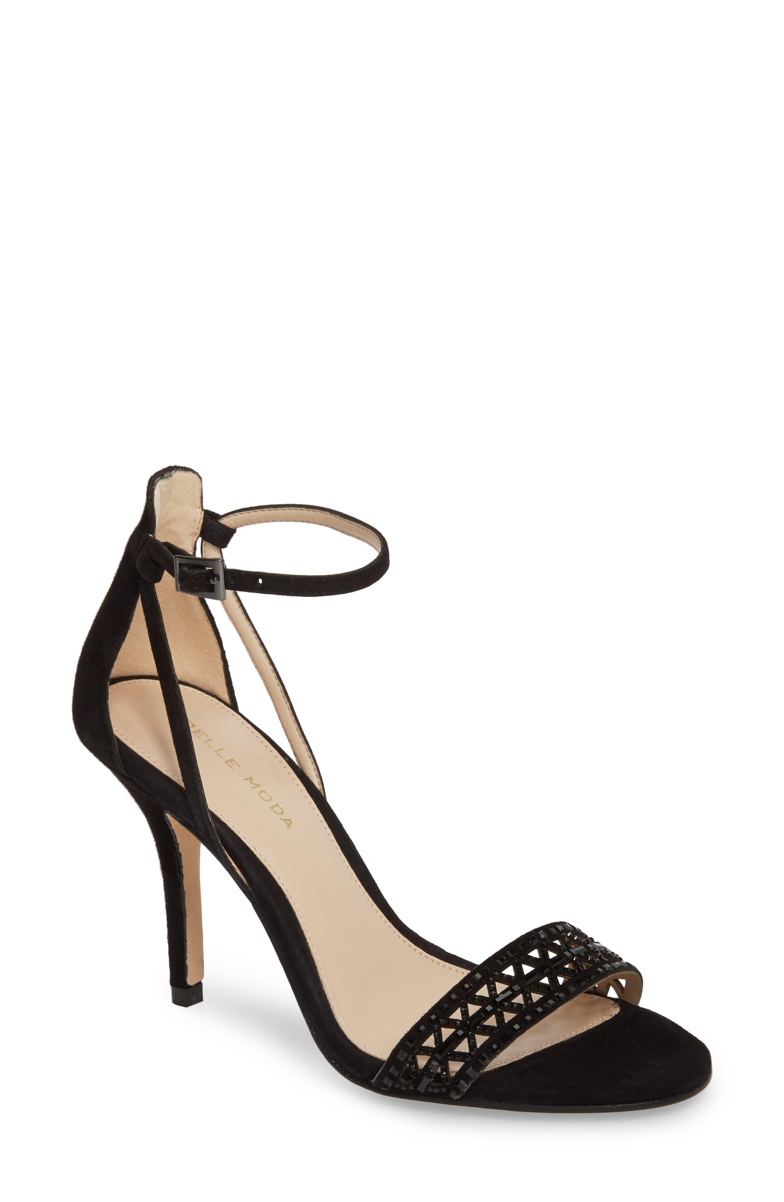 Karmina Embellished Sandal,                             Main thumbnail 1, color,                             BLACK SUEDE