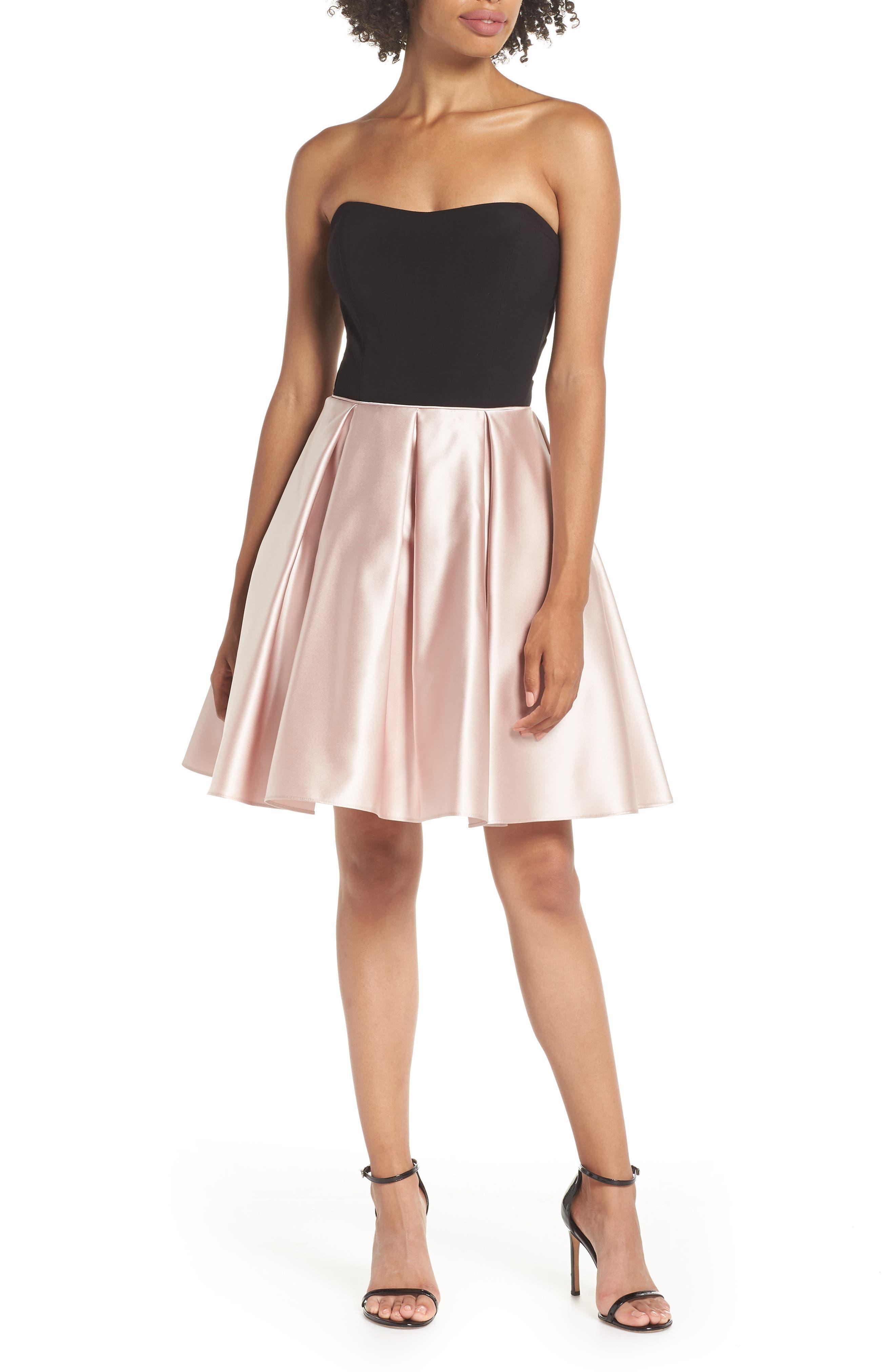 Blondie Nites Strapless Satin Skirt Fit & Flare Dress, Beige