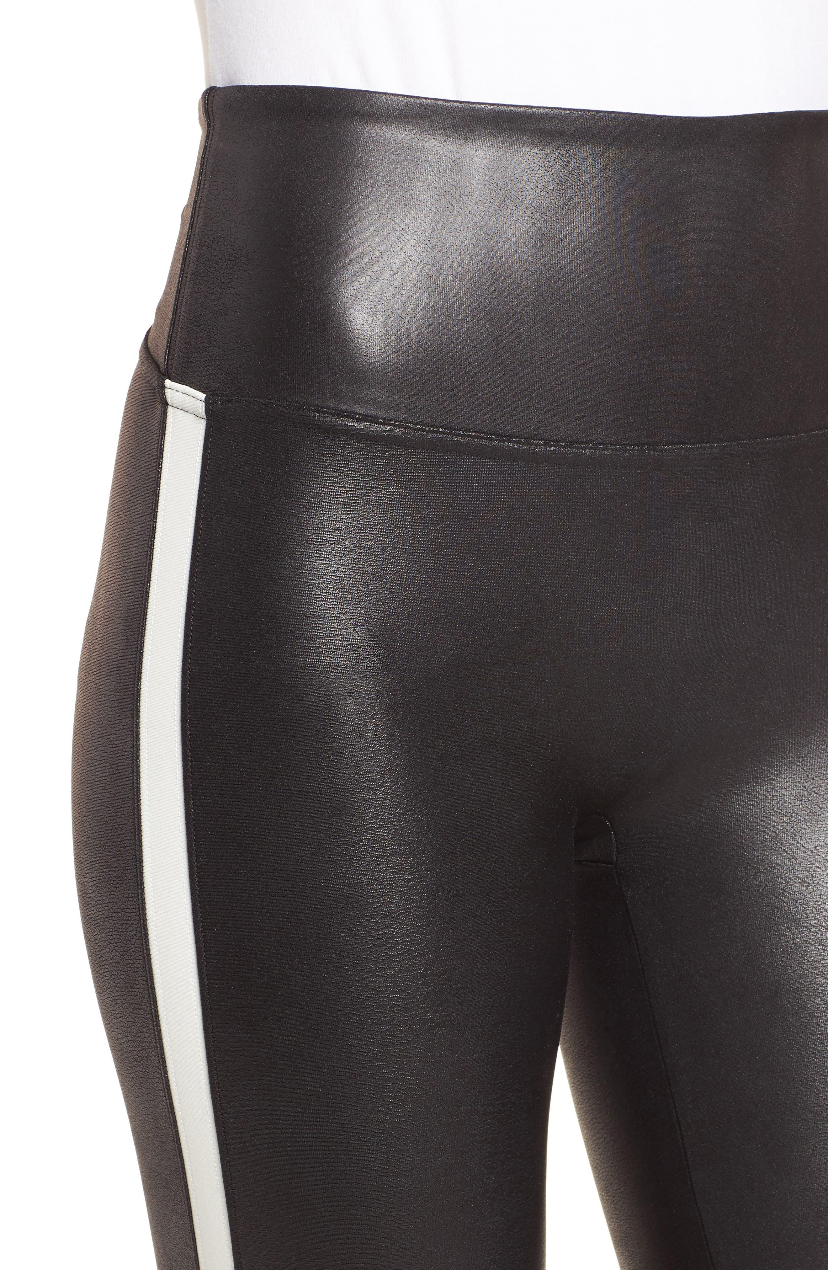 Side Stripe Faux Leather Leggings,                             Alternate thumbnail 4, color,                             VERY BLACK/ WHT