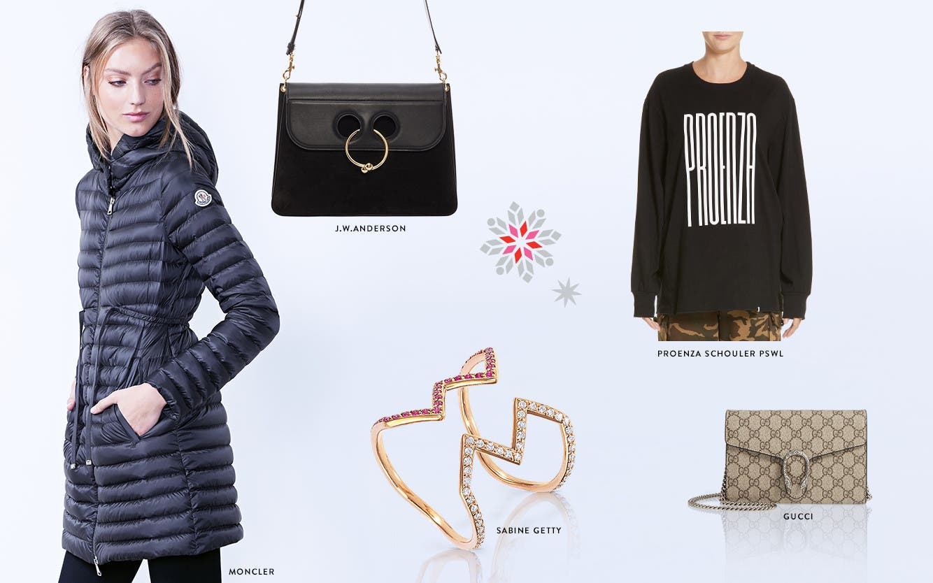Designer holiday gifts: clothing, handbags and fine jewelry.