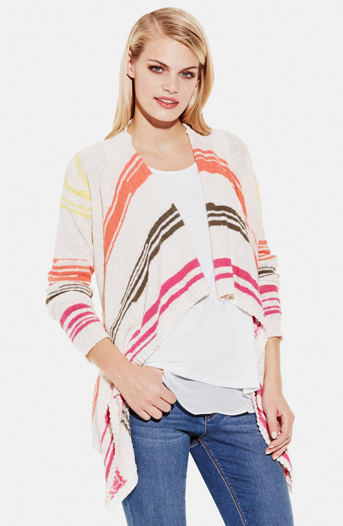 TWO BY VINCE CAMUTO Stripe Drape Front Cardigan, Main, color, 136