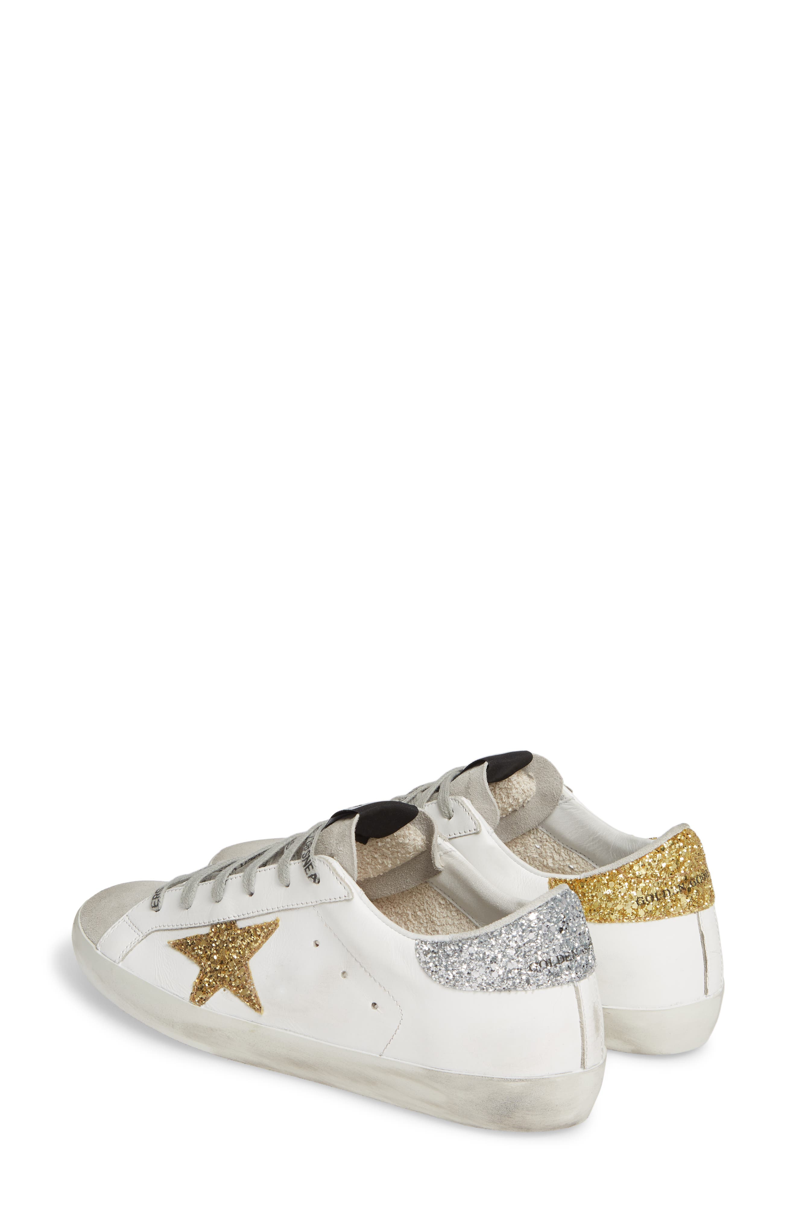 Superstar Low Top Sneaker,                             Alternate thumbnail 3, color,                             WHITE/ GOLD/ SILVER