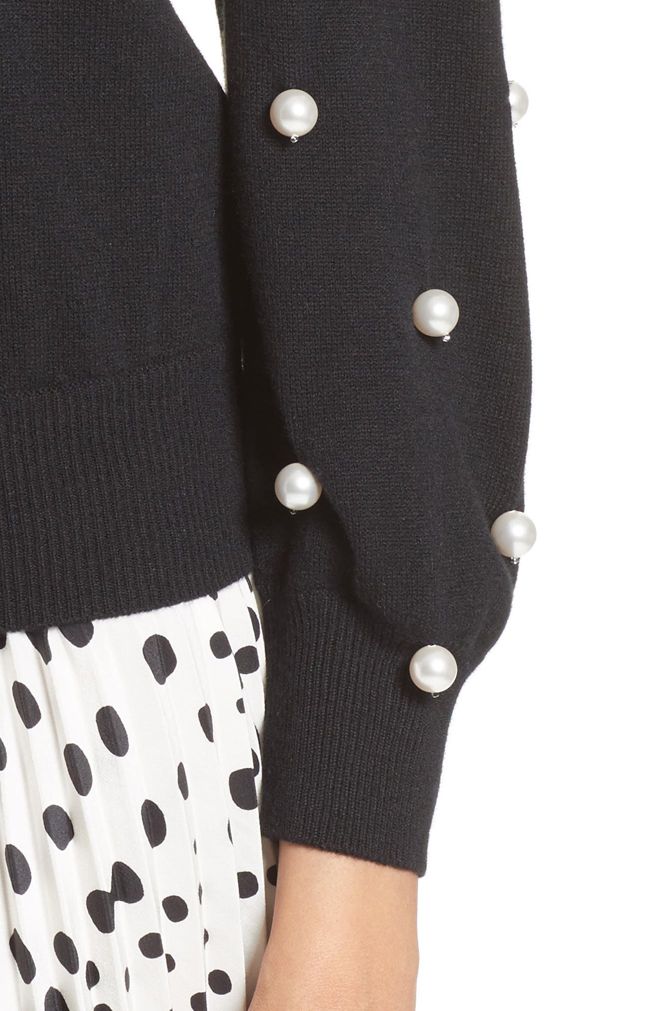 Imitation Pearl Embellished Wool & Cashmere Sweater,                             Alternate thumbnail 4, color,                             001