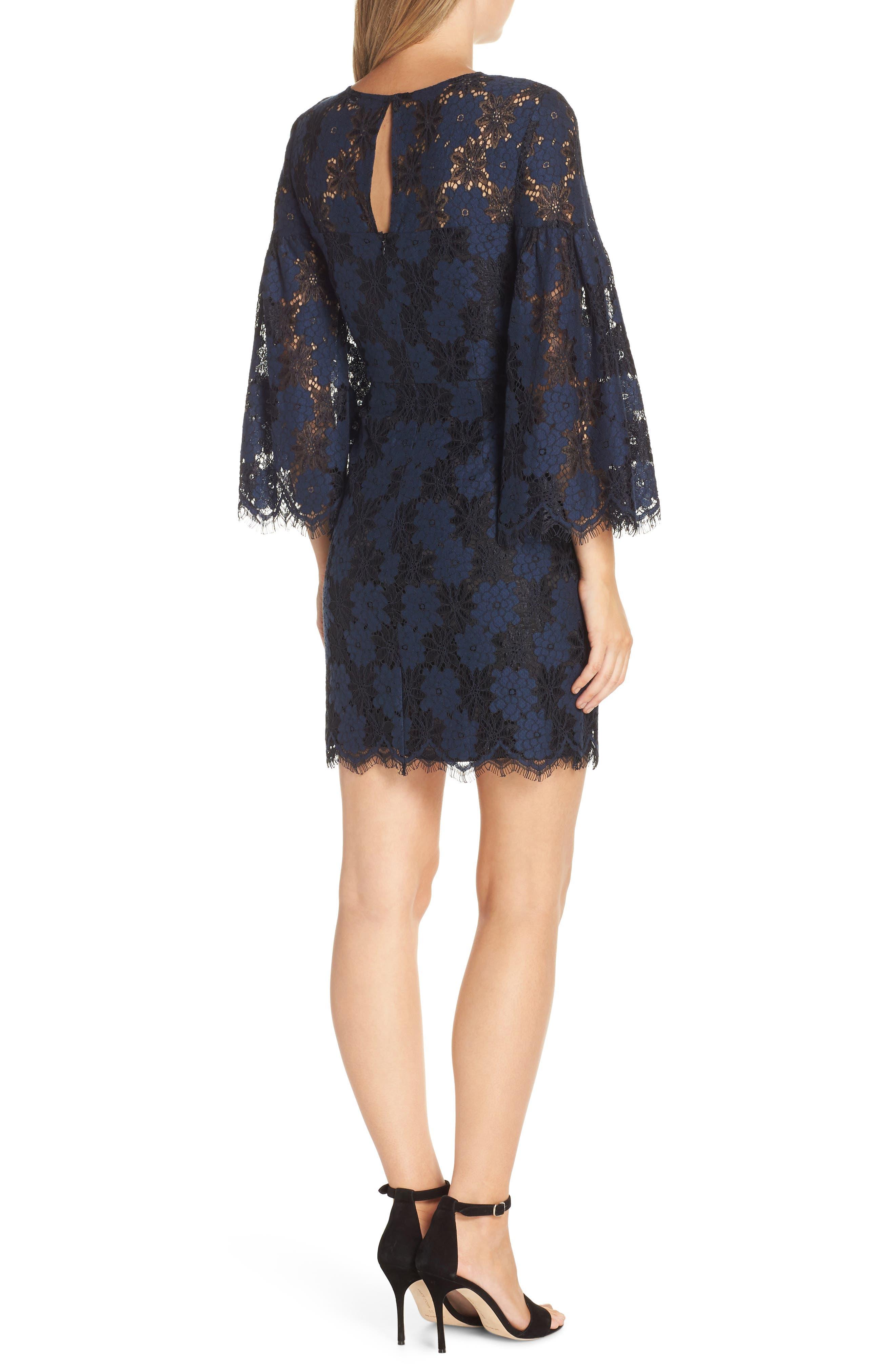 Two-Tone Lace Shift Dress,                             Alternate thumbnail 2, color,                             BLACK/ BLUE FLOWER