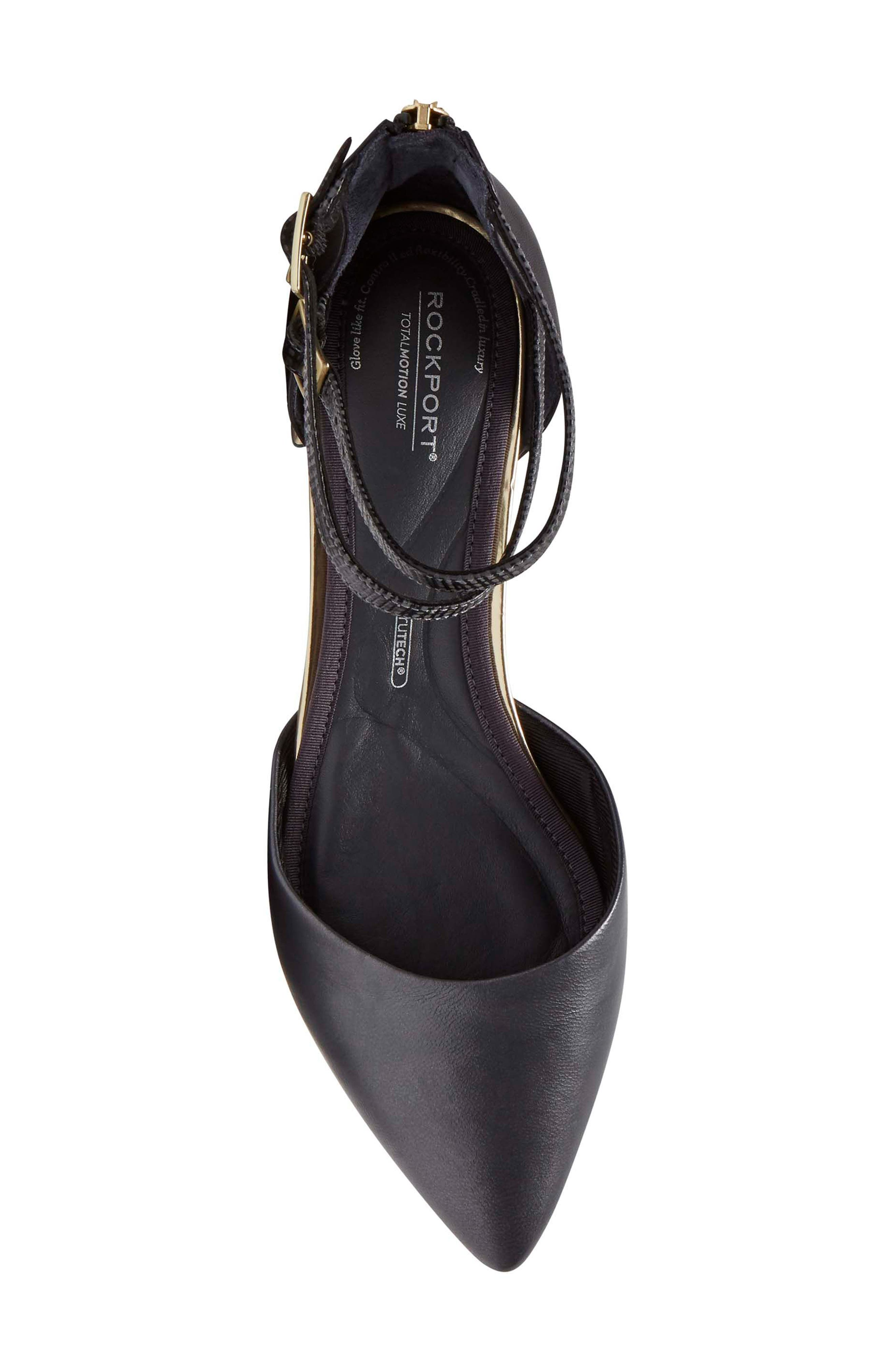 Total Motion<sup>®</sup> Zuly Luxe Ankle Strap Flat,                             Alternate thumbnail 5, color,                             BLACK LEATHER