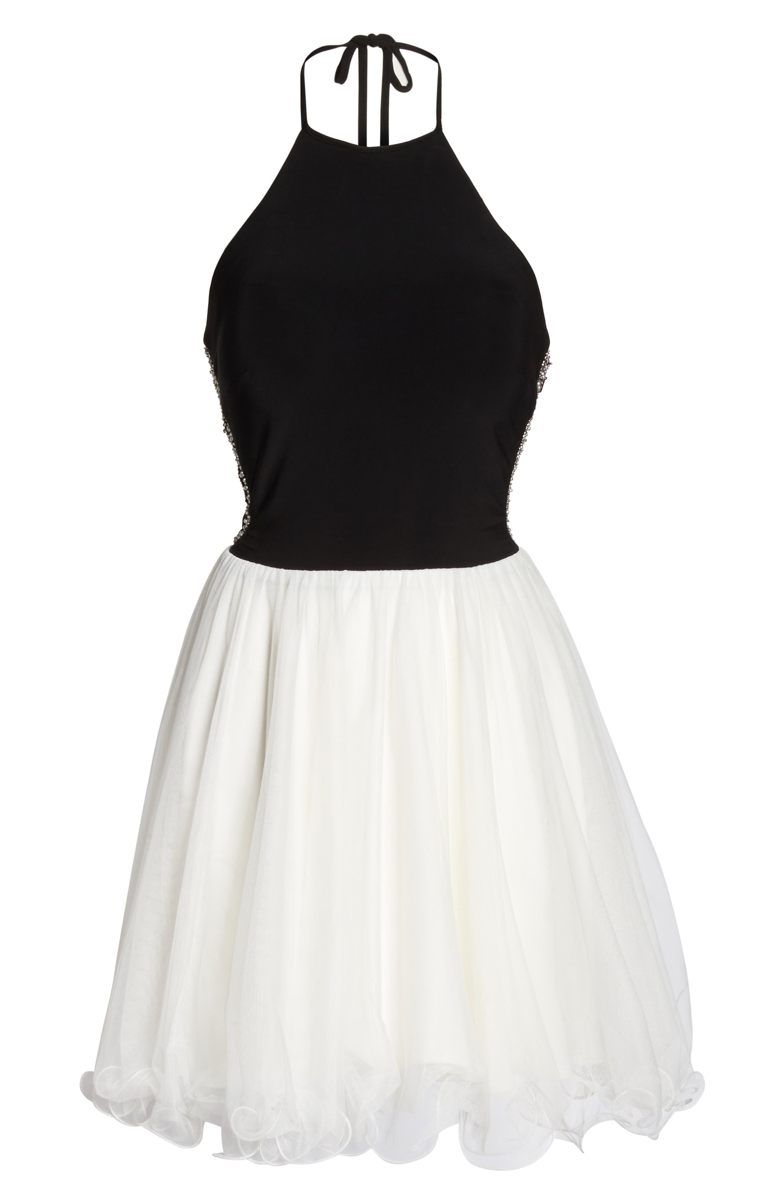 Embellished Back Halter Skater Dress,                             Alternate thumbnail 6, color,                             006