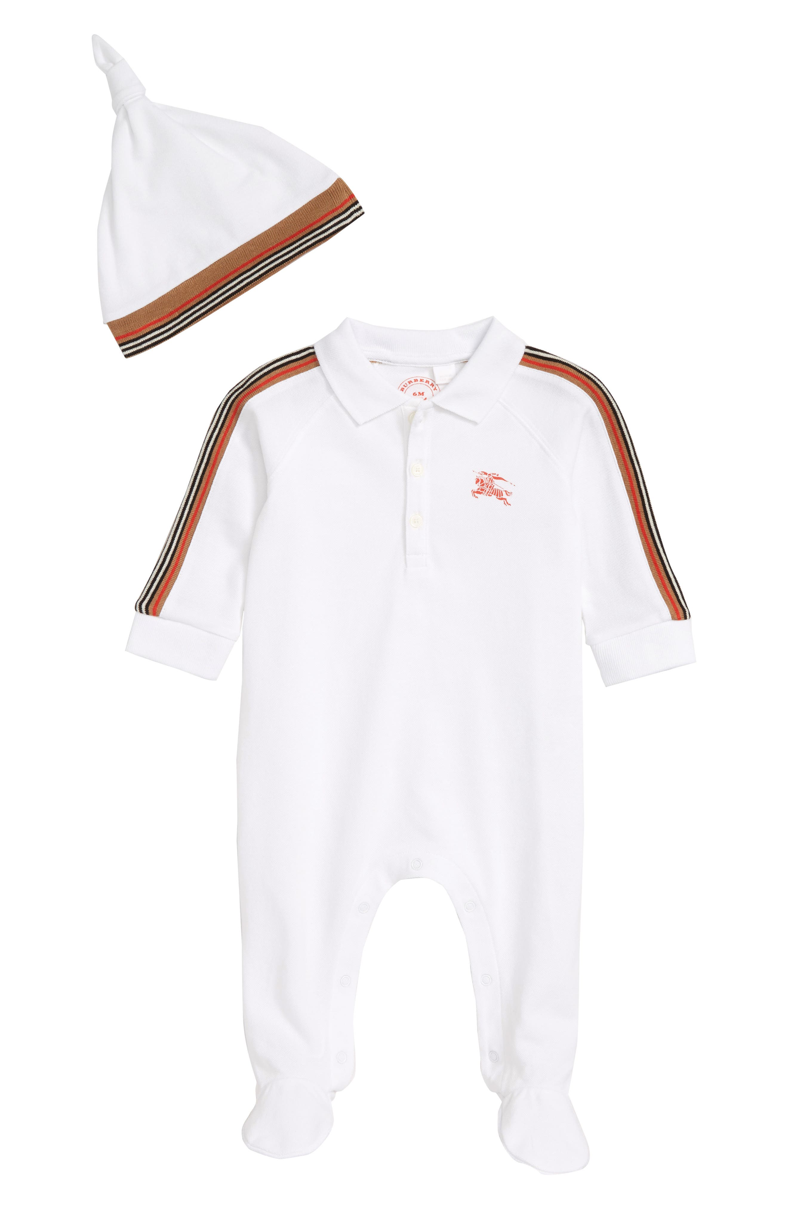 Heritage Stripe Footed Romper & Hat Set,                             Main thumbnail 1, color,                             WHITE