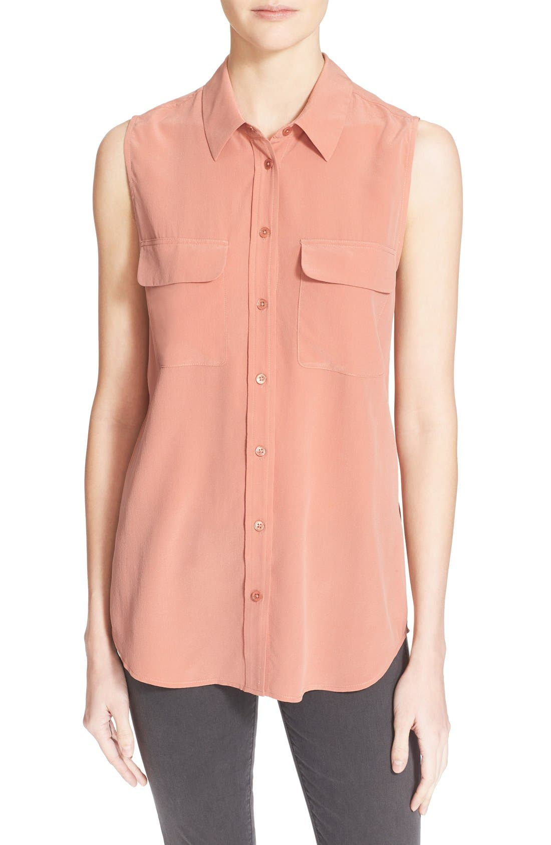 'Slim Signature' Sleeveless Silk Shirt,                             Main thumbnail 51, color,