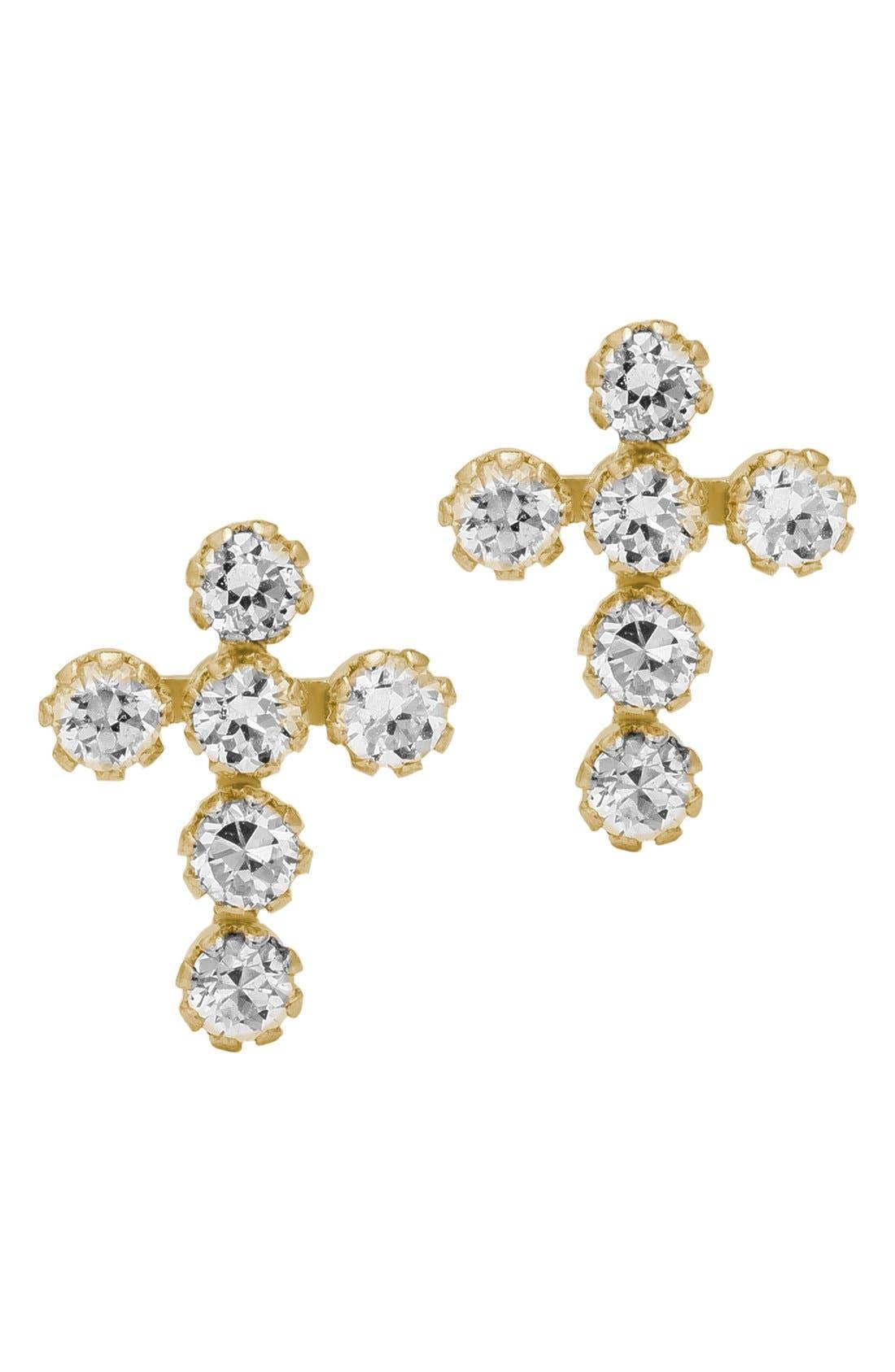 14k Gold & Cubic Zirconia Cross Earrings,                             Main thumbnail 1, color,                             GOLD
