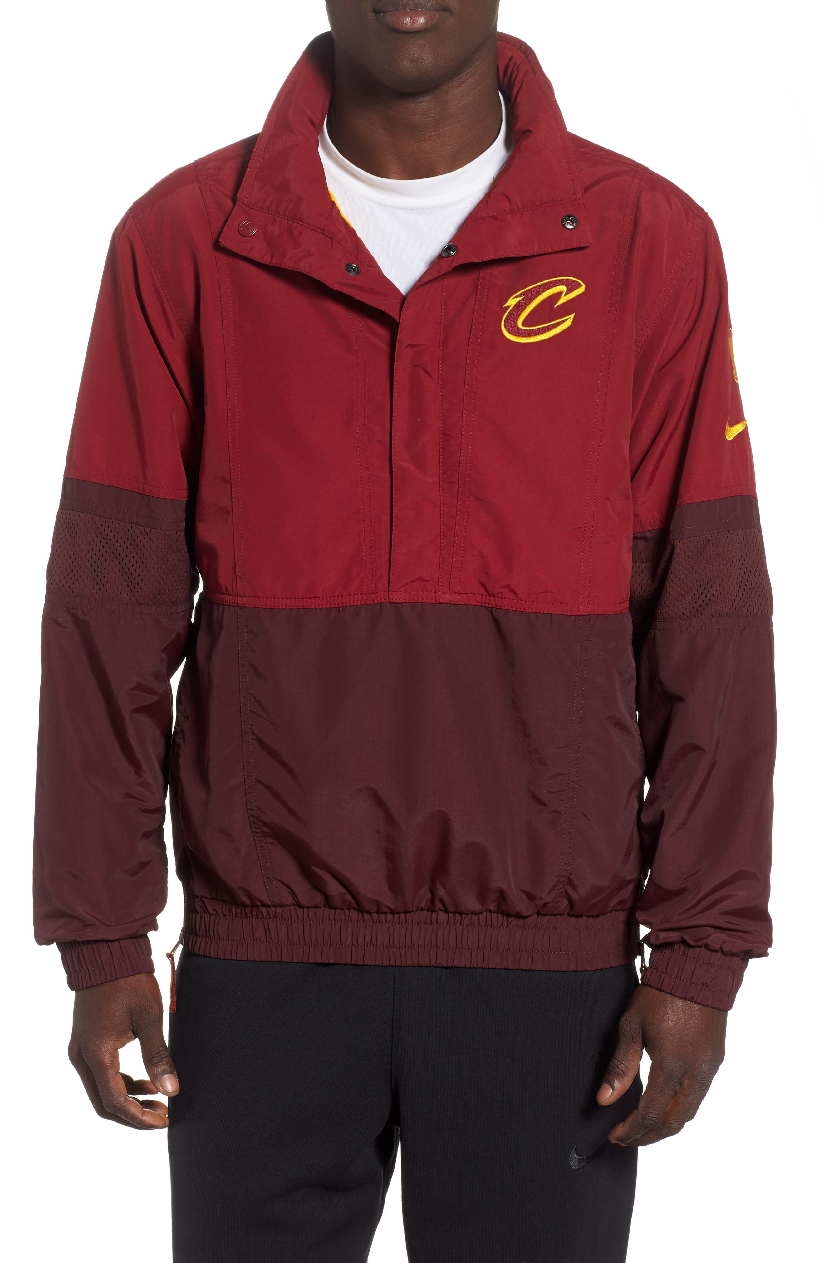 NIKE,                             Cleveland Cavaliers Courtside Warm-Up Jacket,                             Main thumbnail 1, color,                             TEAM RED/ BURGUNDY / GOLD