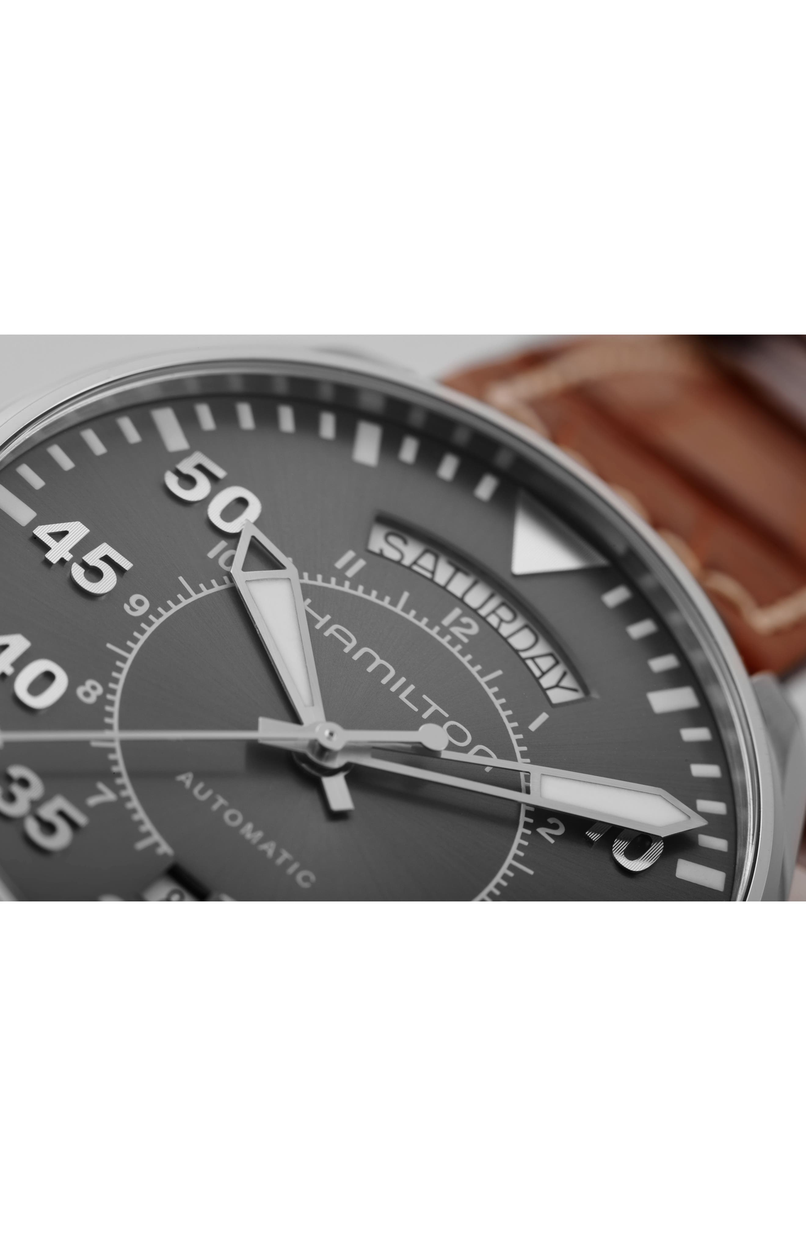 Khaki Pilot Automatic Leather Strap Watch, 42mm,                             Alternate thumbnail 4, color,                             BROWN/ GREY/ SILVER