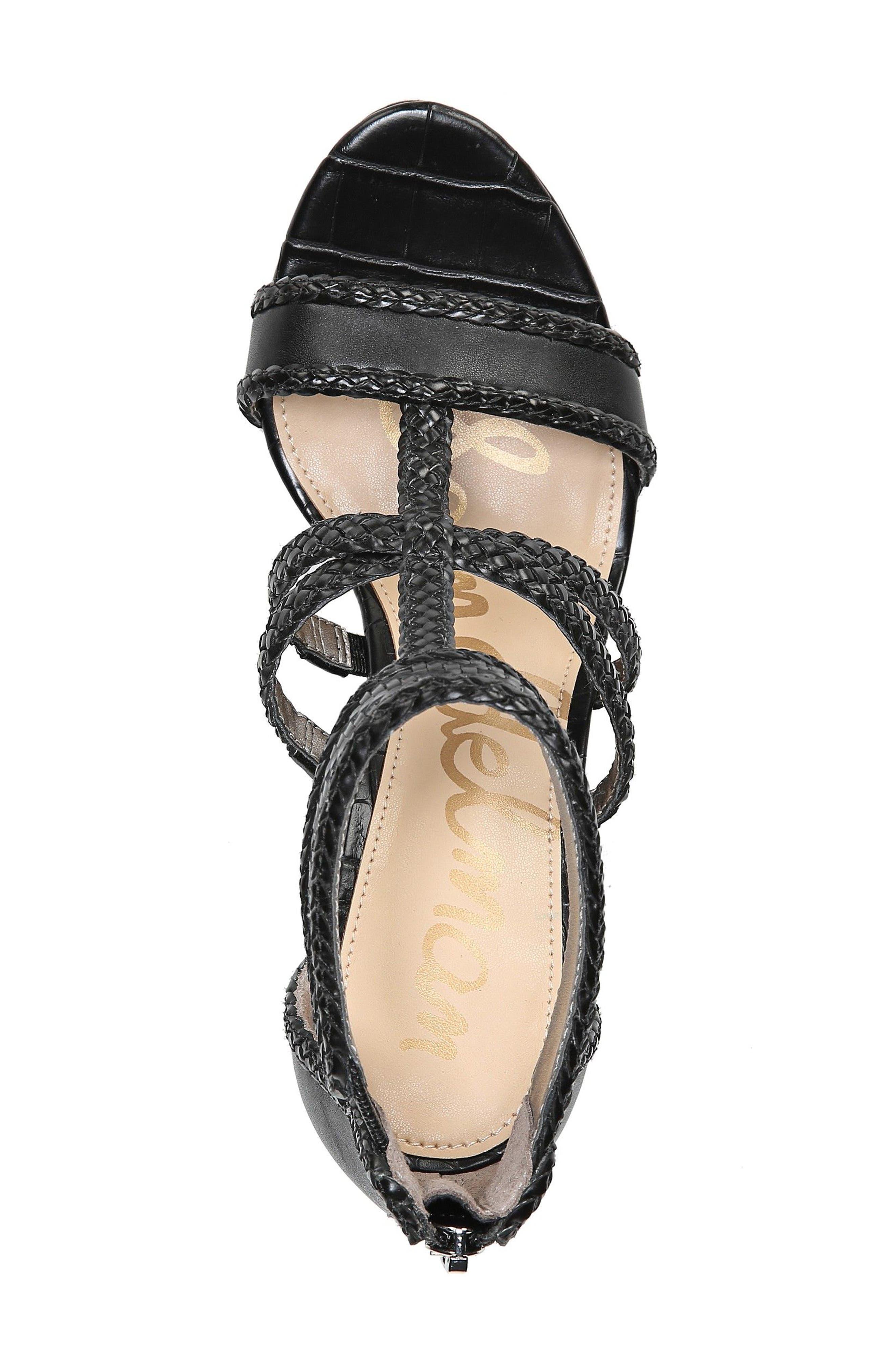 Yordana Woven T-Strap Sandal,                             Alternate thumbnail 5, color,                             001