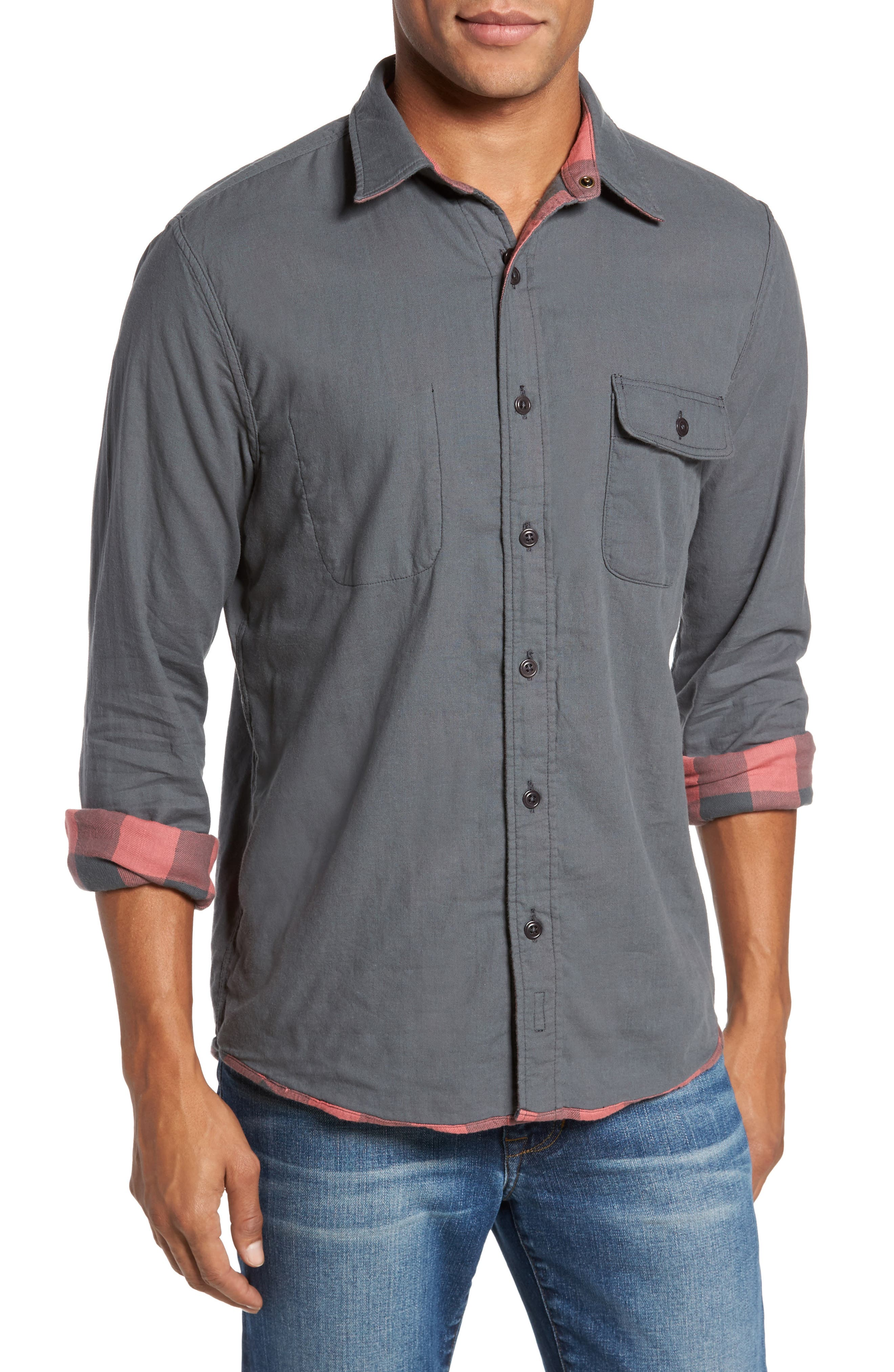 Belmar Trim Fit Long Sleeve Reversible Sport Shirt,                             Alternate thumbnail 4, color,                             614