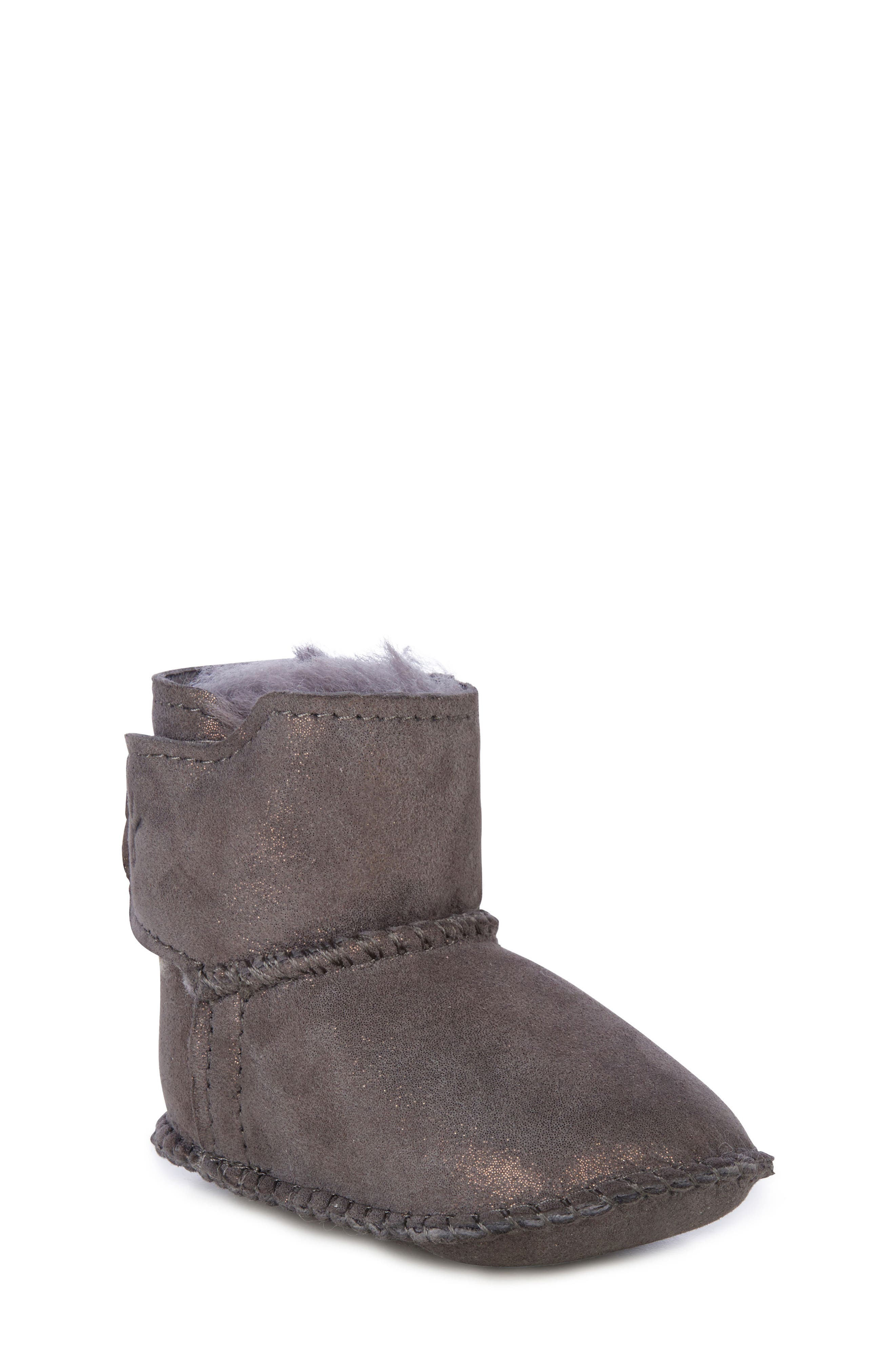 Water Resistant Metallic Bootie,                             Main thumbnail 1, color,                             CHARCOAL