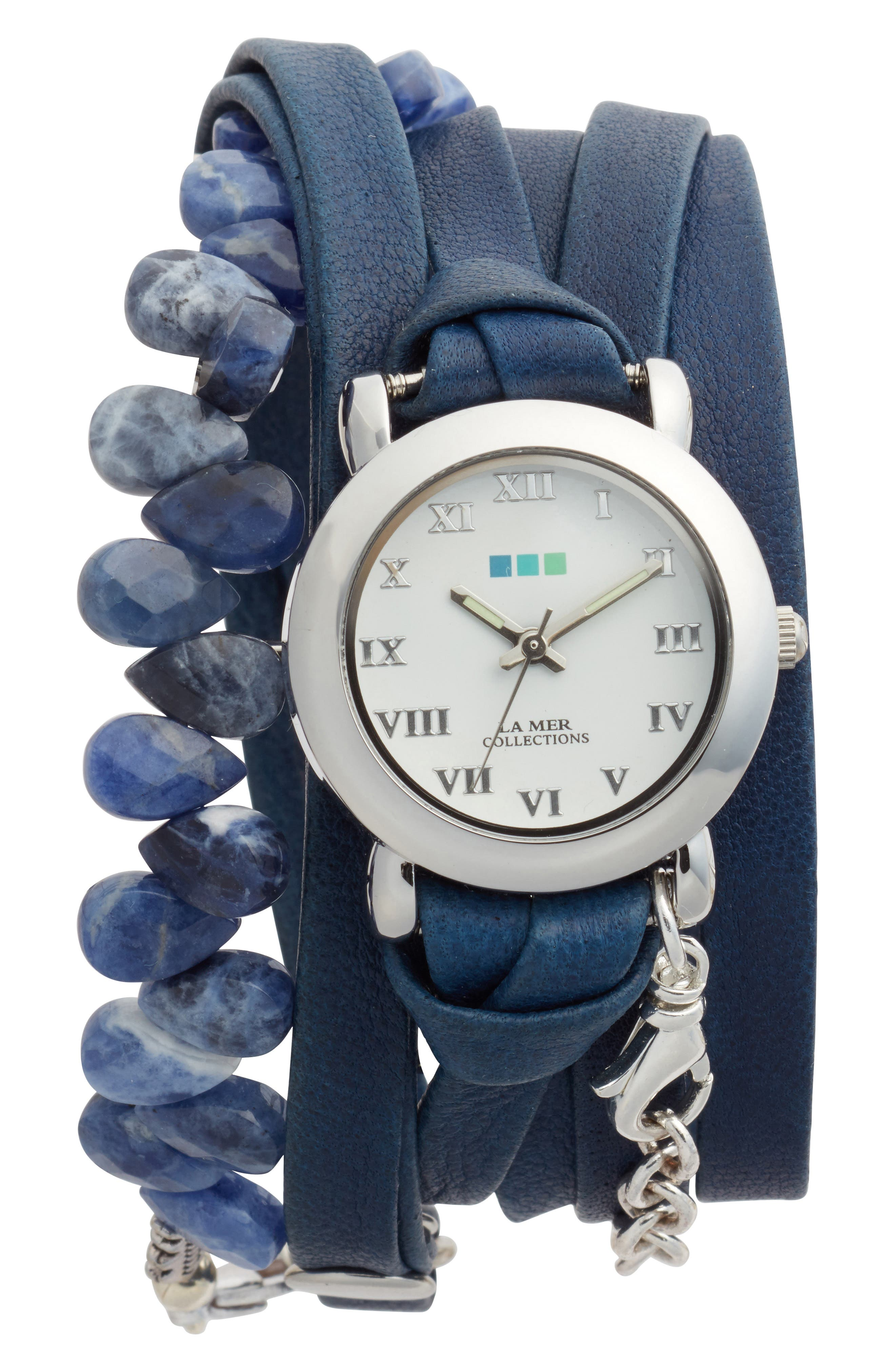Stone & Leather Wrap Strap Watch, 22mm,                         Main,                         color, NAVY/WHITE/SILVER