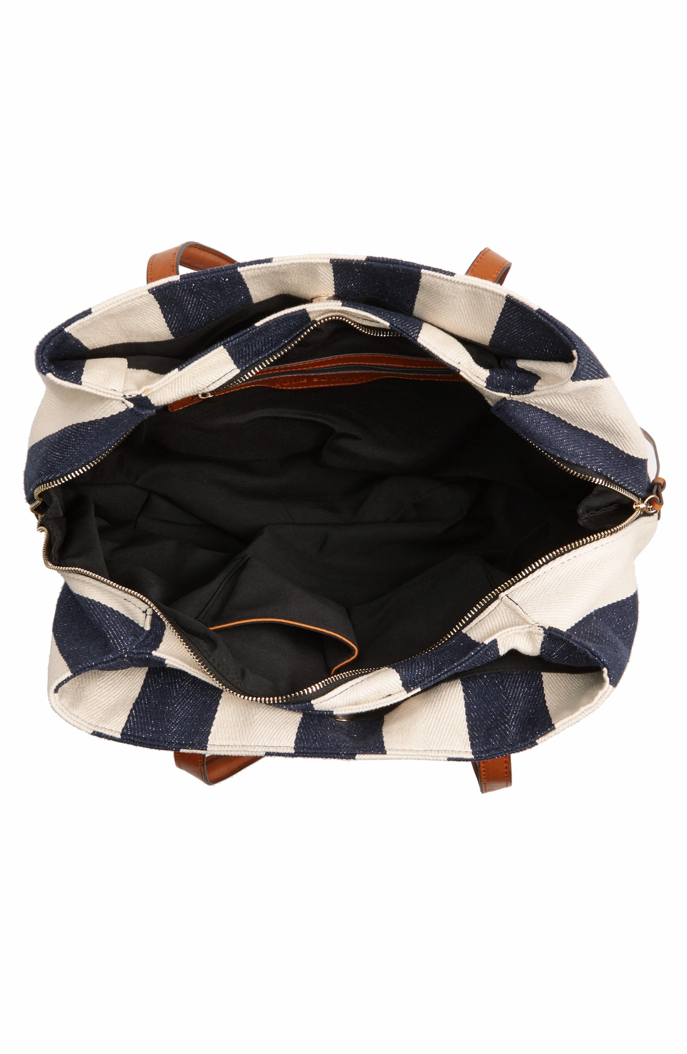 SOLE SOCIETY,                             'Oversize Millie' Stripe Print Tote,                             Alternate thumbnail 4, color,                             NAVY CREAM