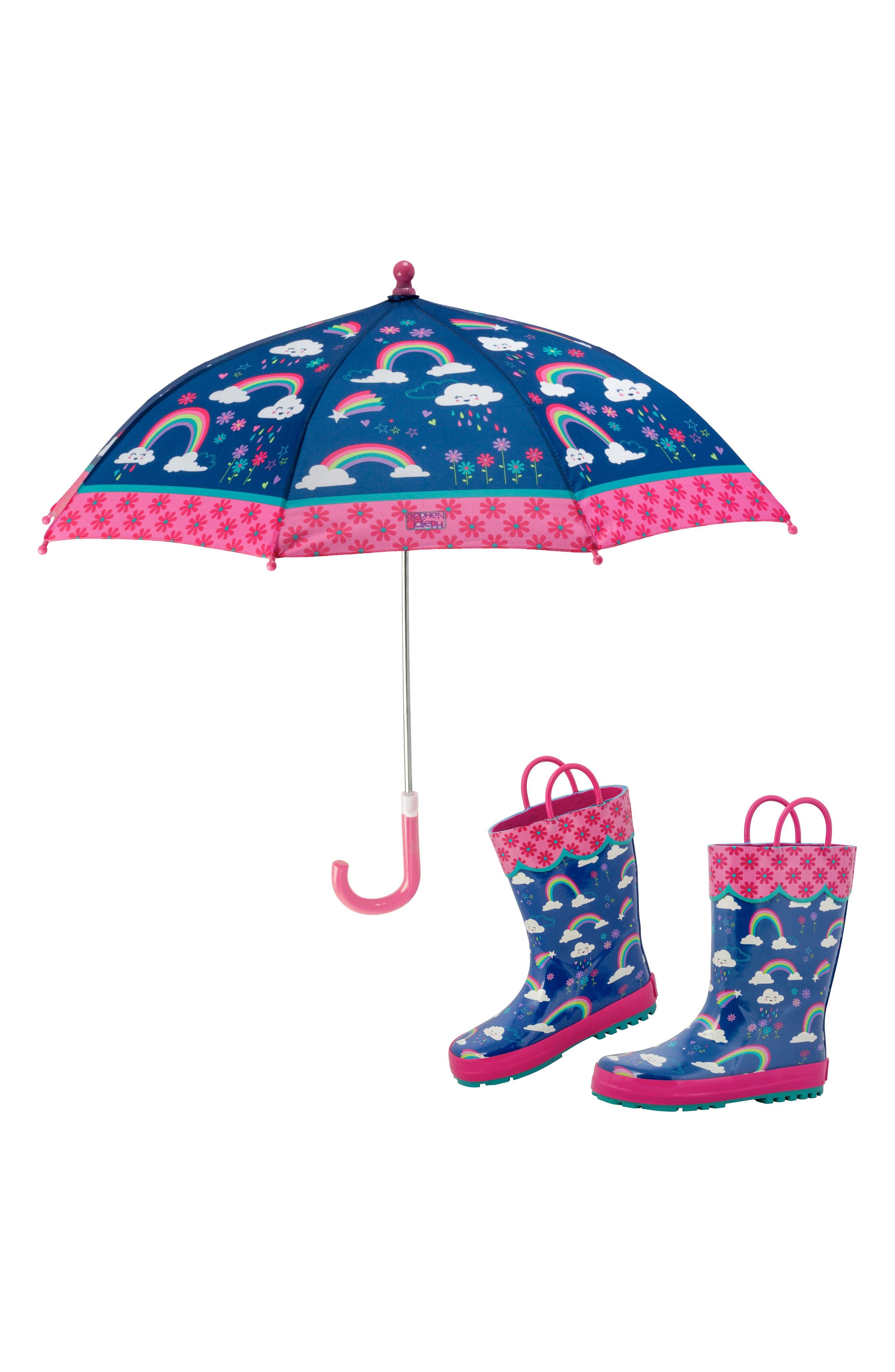 STEPHEN JOSEPH,                             Rainbow Rain Boots & Umbrella Set,                             Main thumbnail 1, color,                             RAINBOW