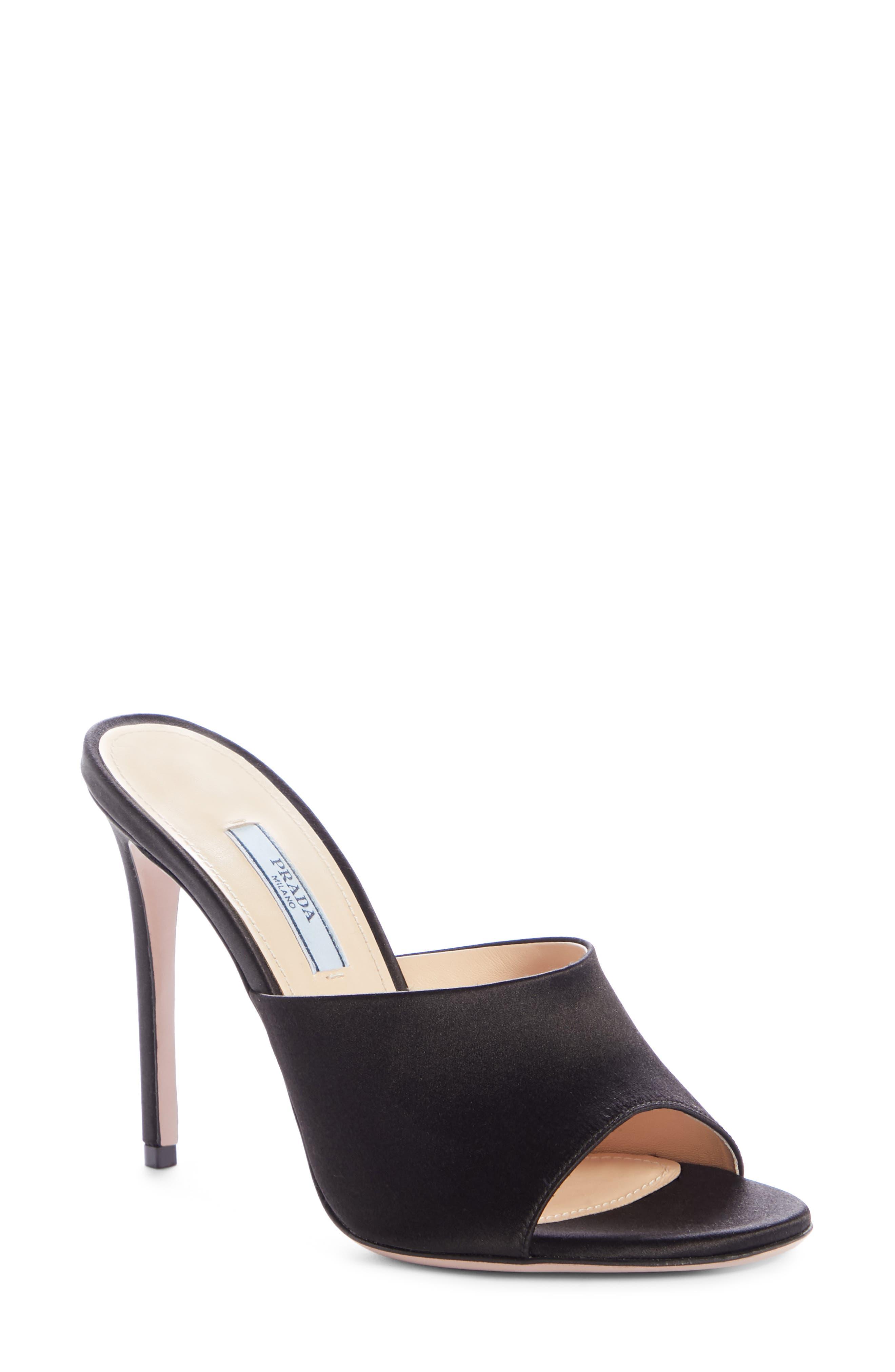 Mule Sandal,                             Main thumbnail 1, color,                             BLACK SILK