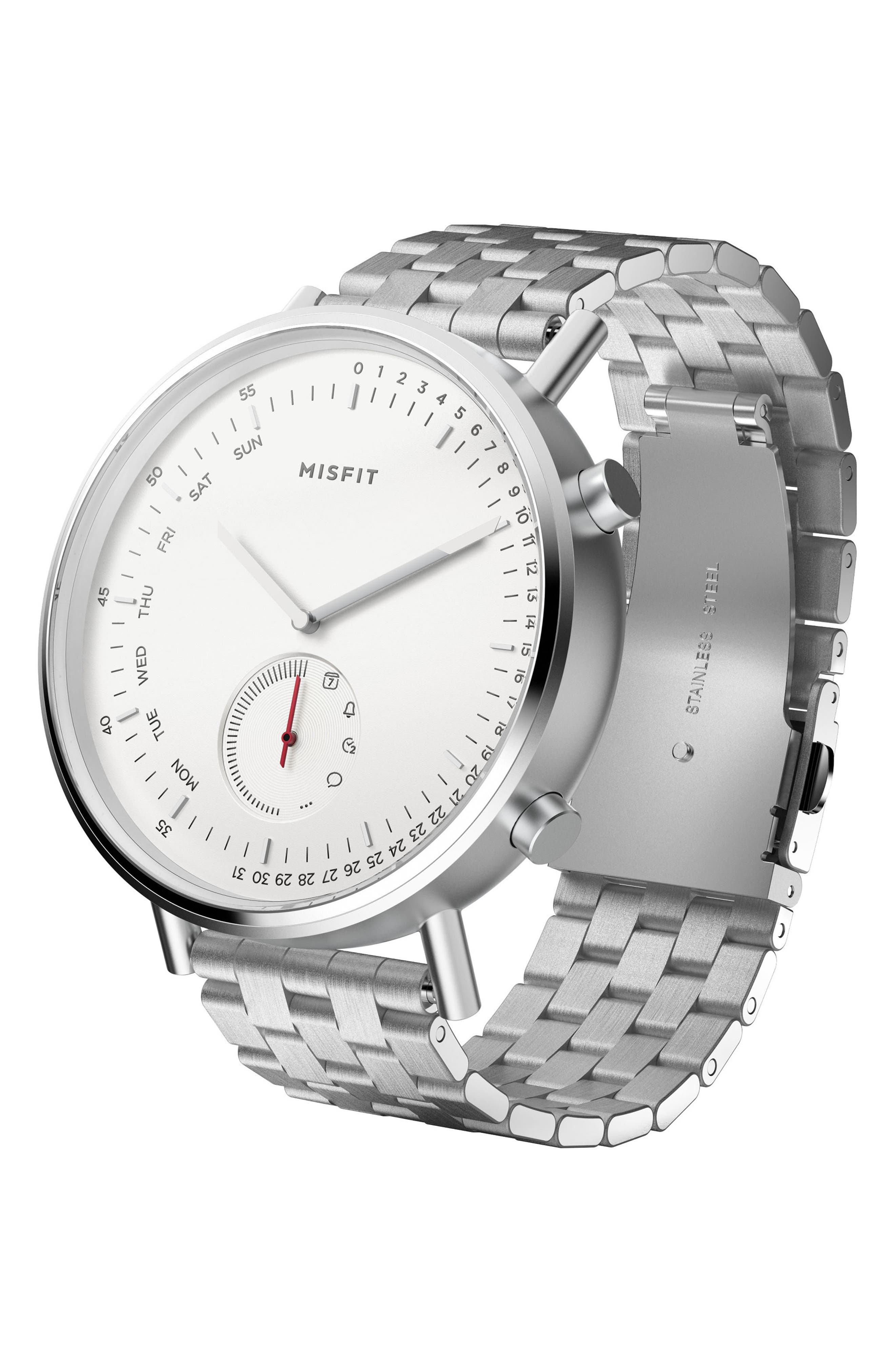 Command Hybrid Bracelet Smart Watch, 44mm,                         Main,                         color, SILVER/ WHITE/ SILVER