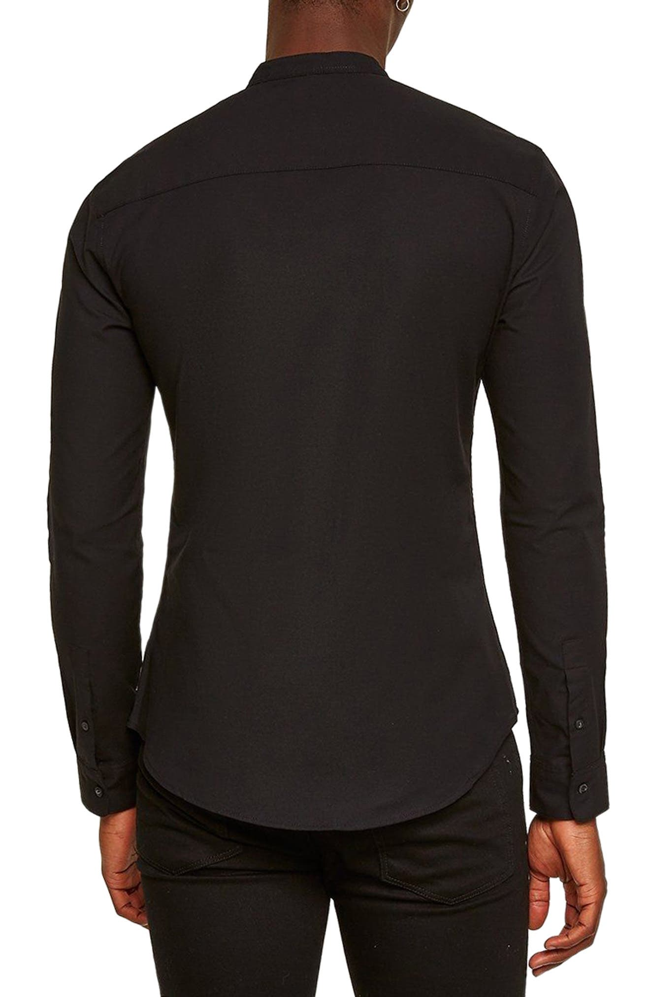 Muscle Fit Stretch Oxford Band Collar Shirt,                             Alternate thumbnail 3, color,                             BLACK