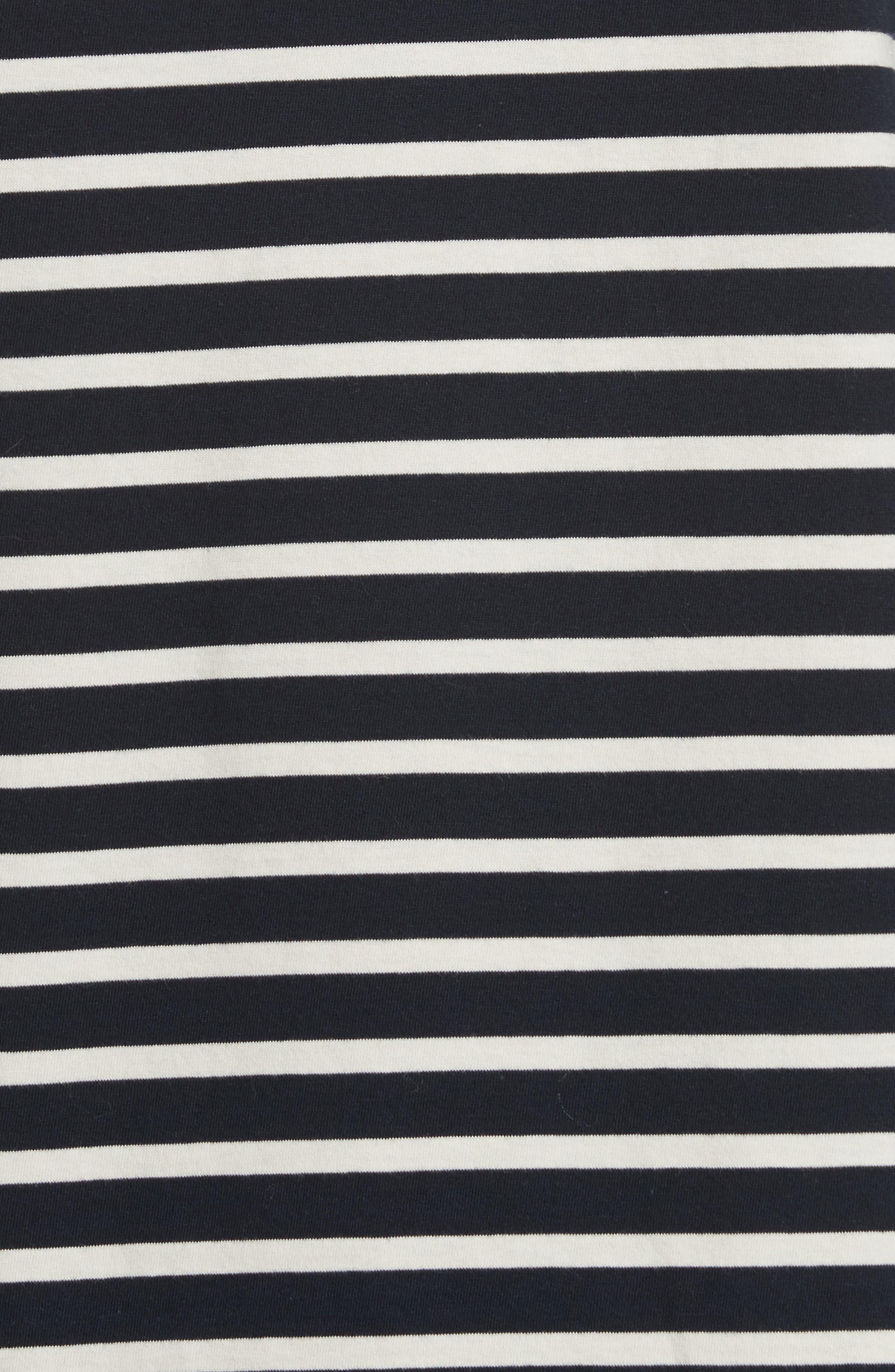 The Tee Stripe Dress,                             Alternate thumbnail 5, color,                             NAVY/ CREAM
