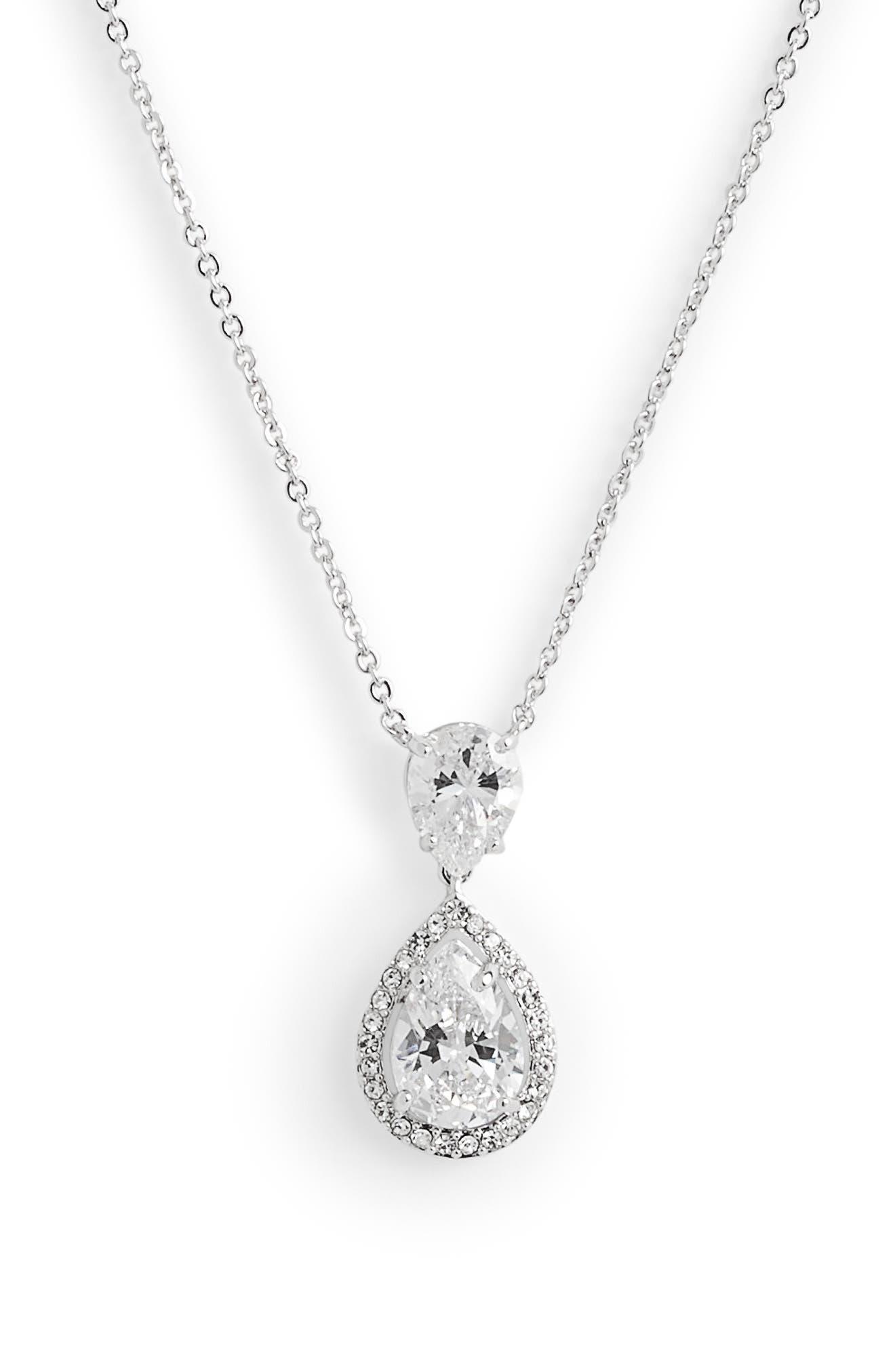 Crystal Teardrop Pendant Necklace,                         Main,                         color, CLEAR- SILVER