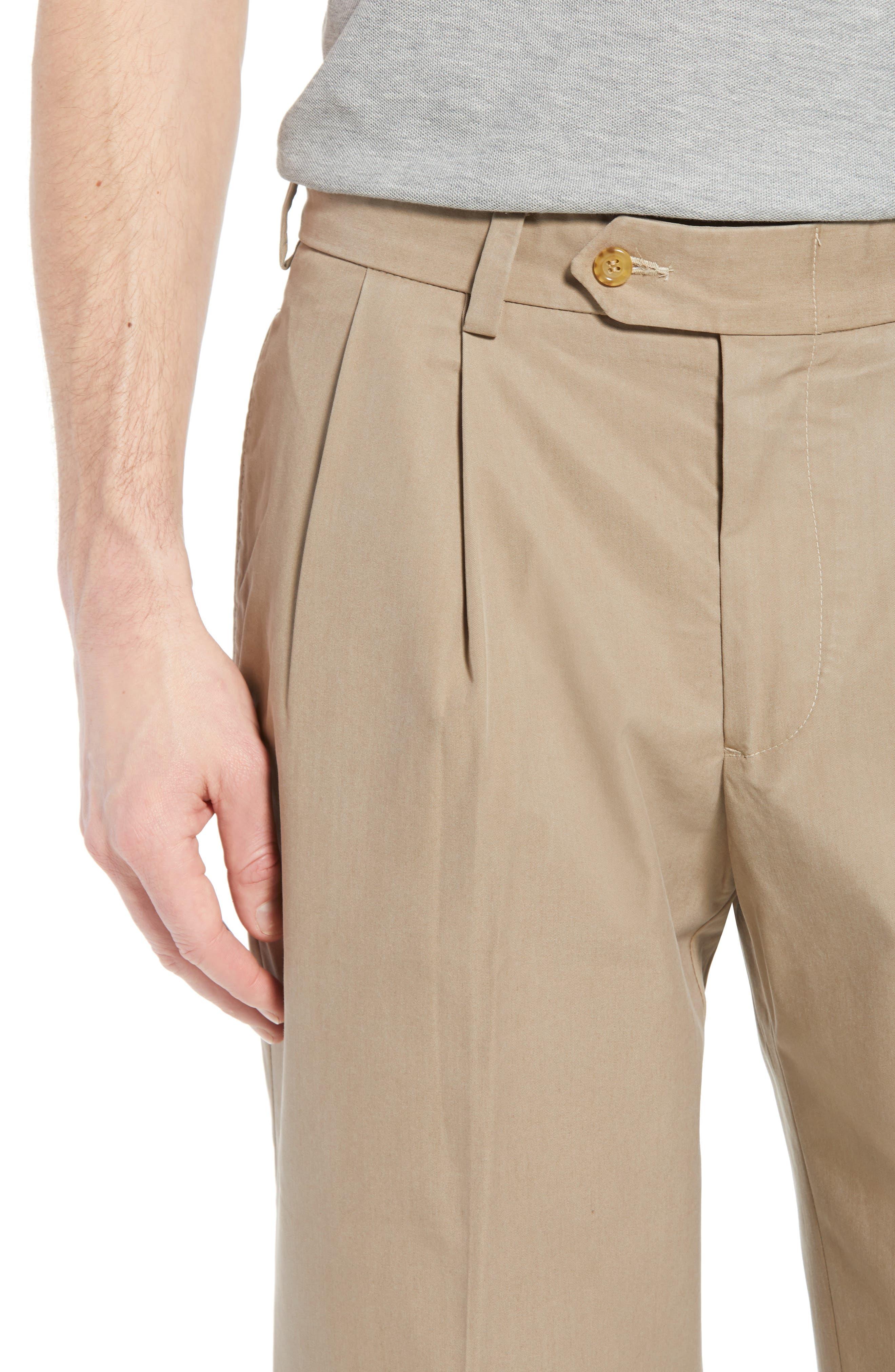 M2 Classic Fit Pleated Travel Twill Pants,                             Alternate thumbnail 4, color,                             KHAKI