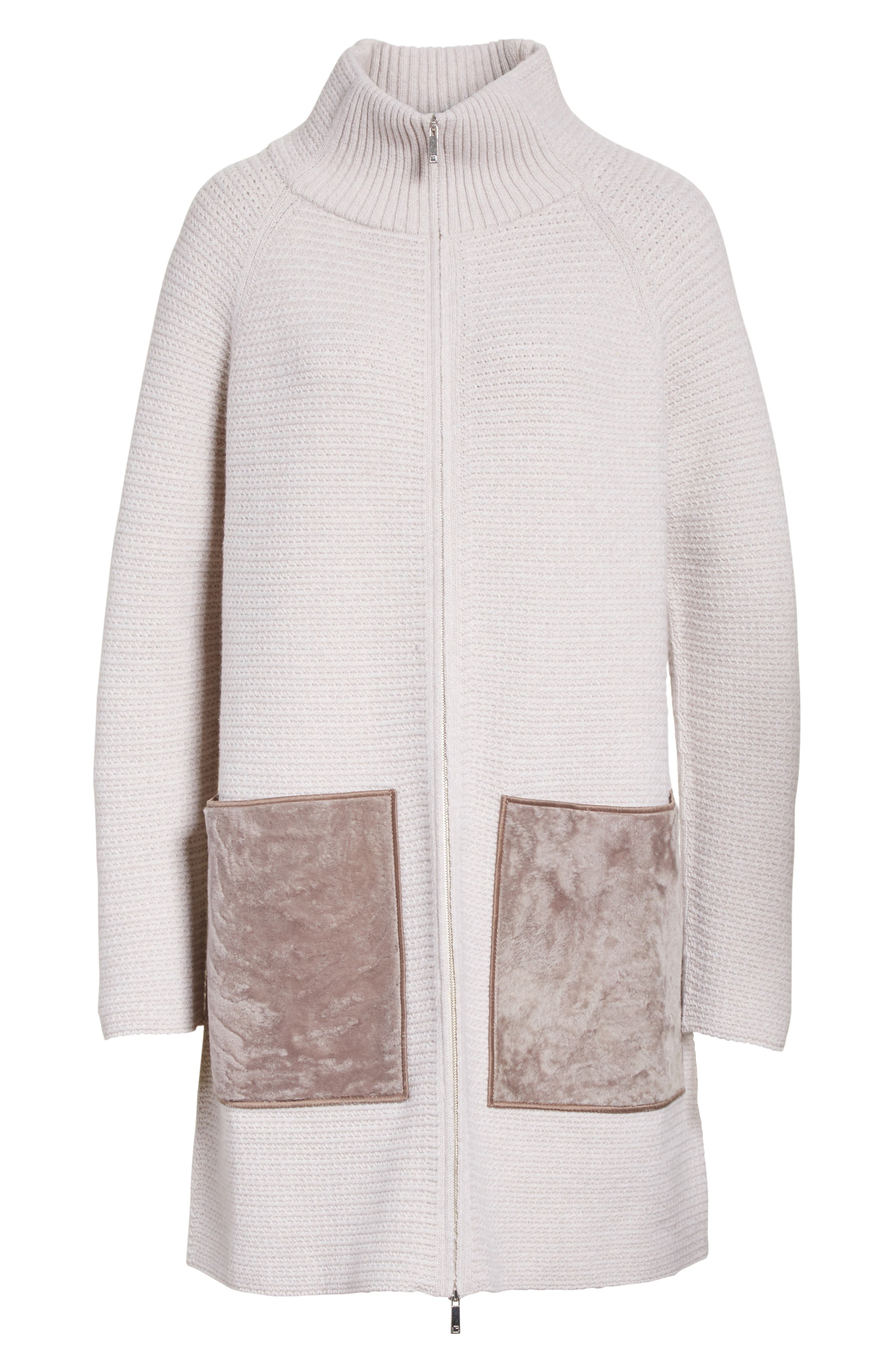 Wool & Cashmere Herringbone Stitch Cardigan with Genuine Shearling Pockets,                             Alternate thumbnail 6, color,