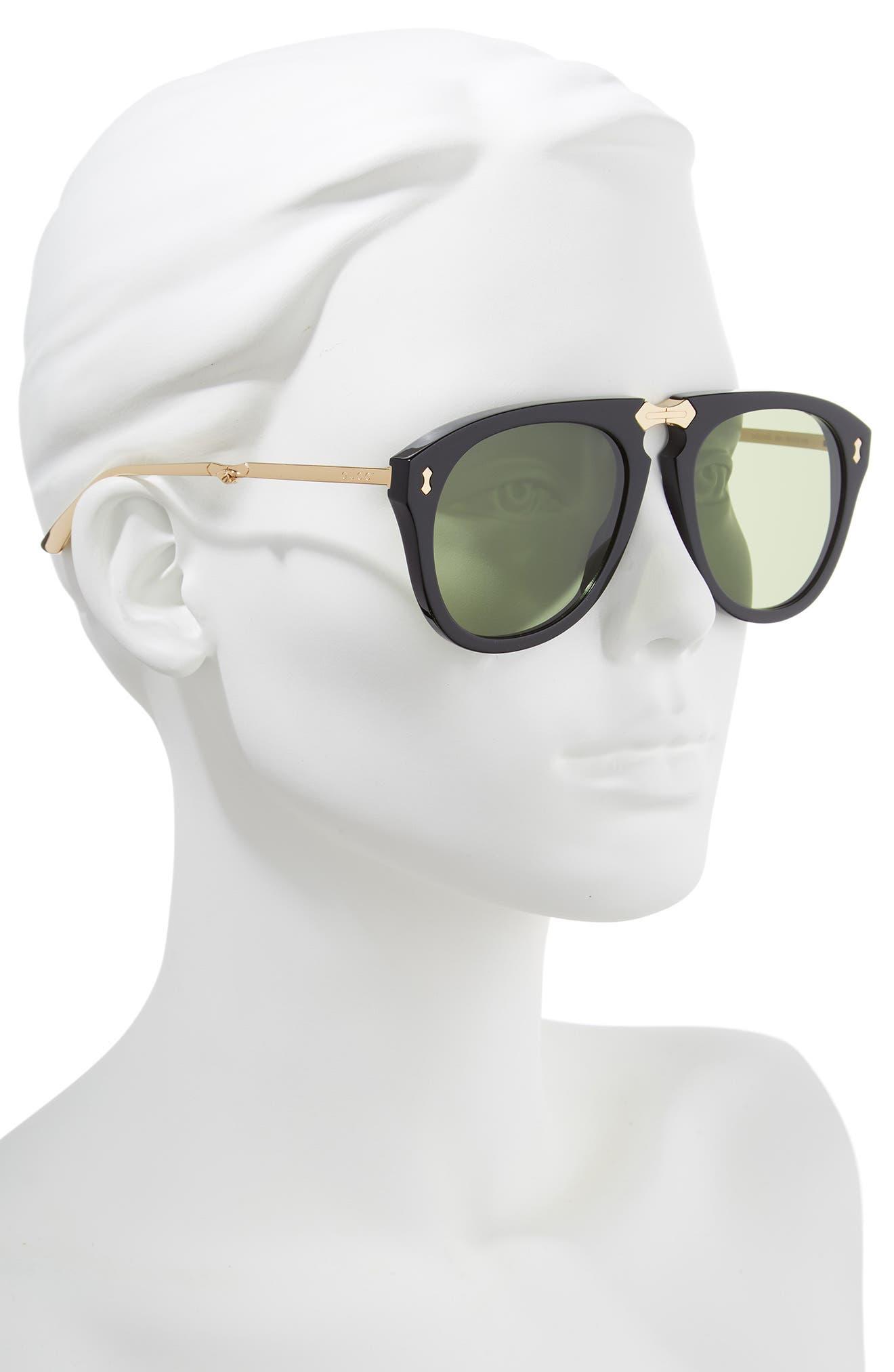 56mm Aviator Sunglasses,                             Alternate thumbnail 2, color,                             BLACK/ GOLD/ GREEN