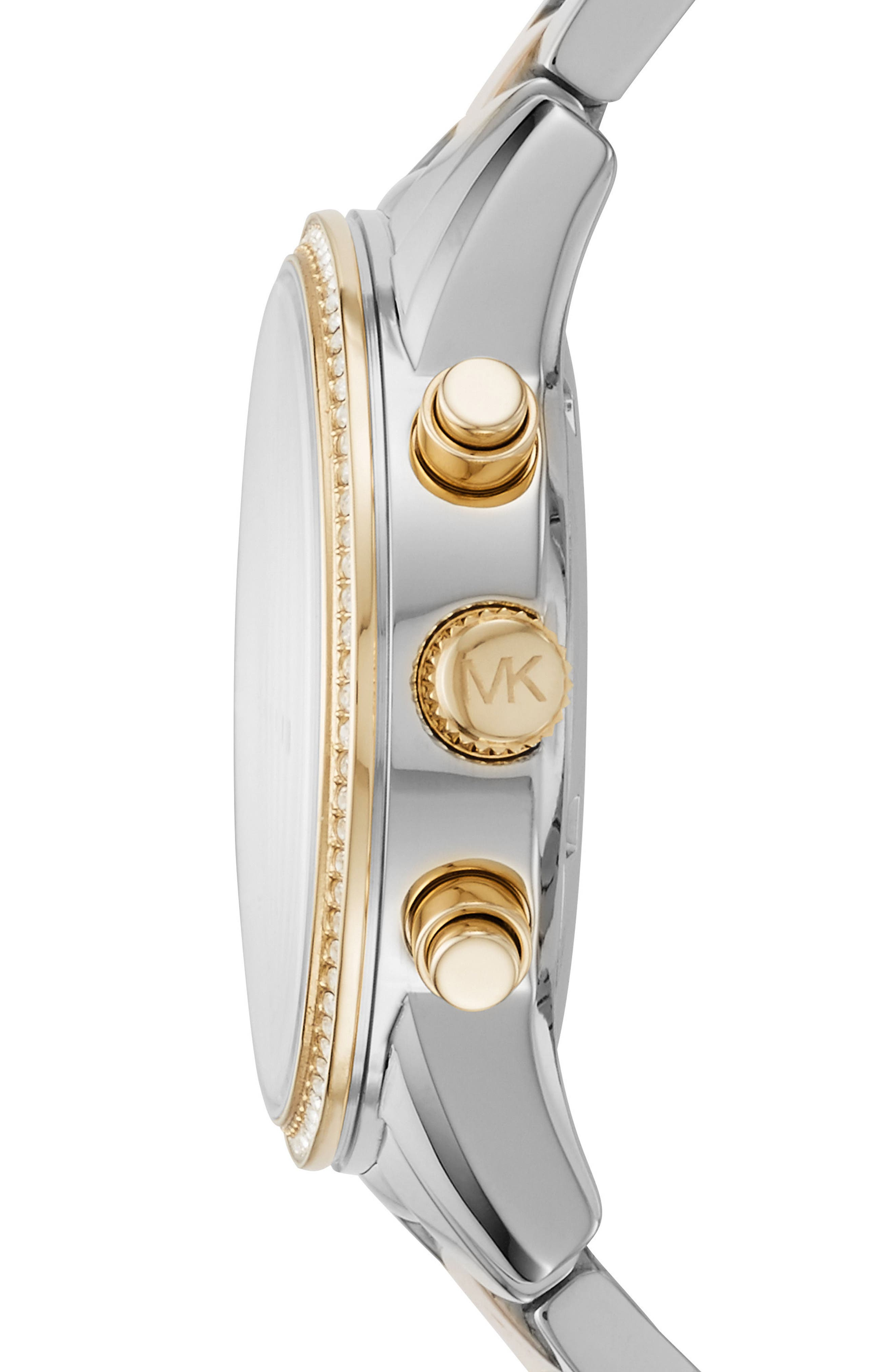 Ritz Chronograph Bracelet Watch, 37mm,                             Alternate thumbnail 2, color,                             SILVER/ WHITE/ GOLD