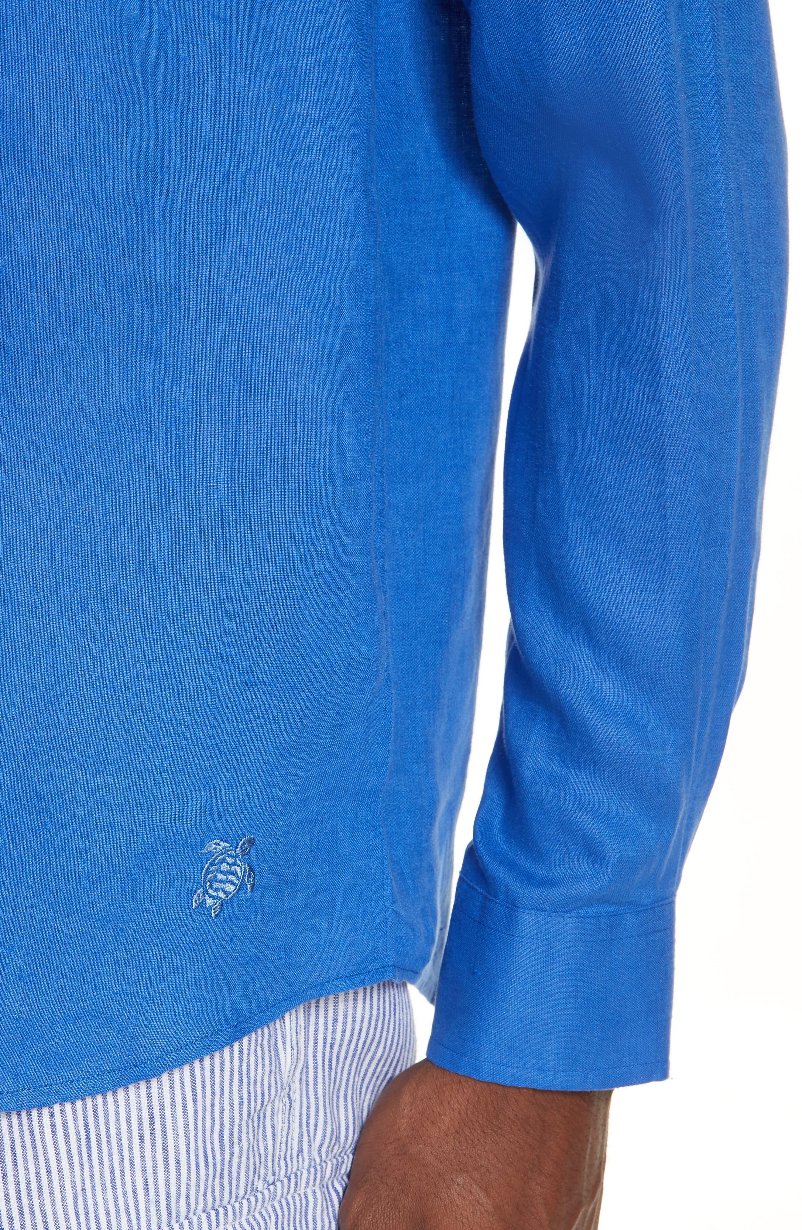 Linen Sport Shirt,                             Alternate thumbnail 2, color,                             BLUE 2