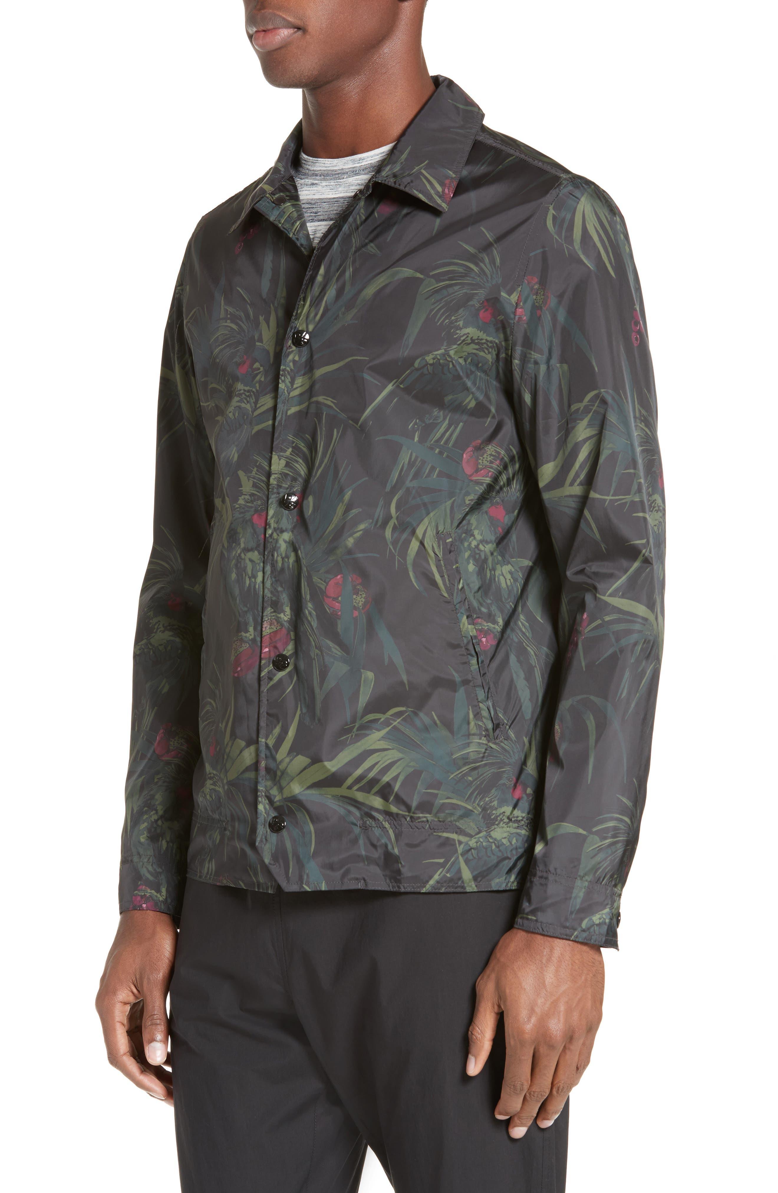 Dark Tropical Woven Work Jacket,                             Alternate thumbnail 5, color,                             005