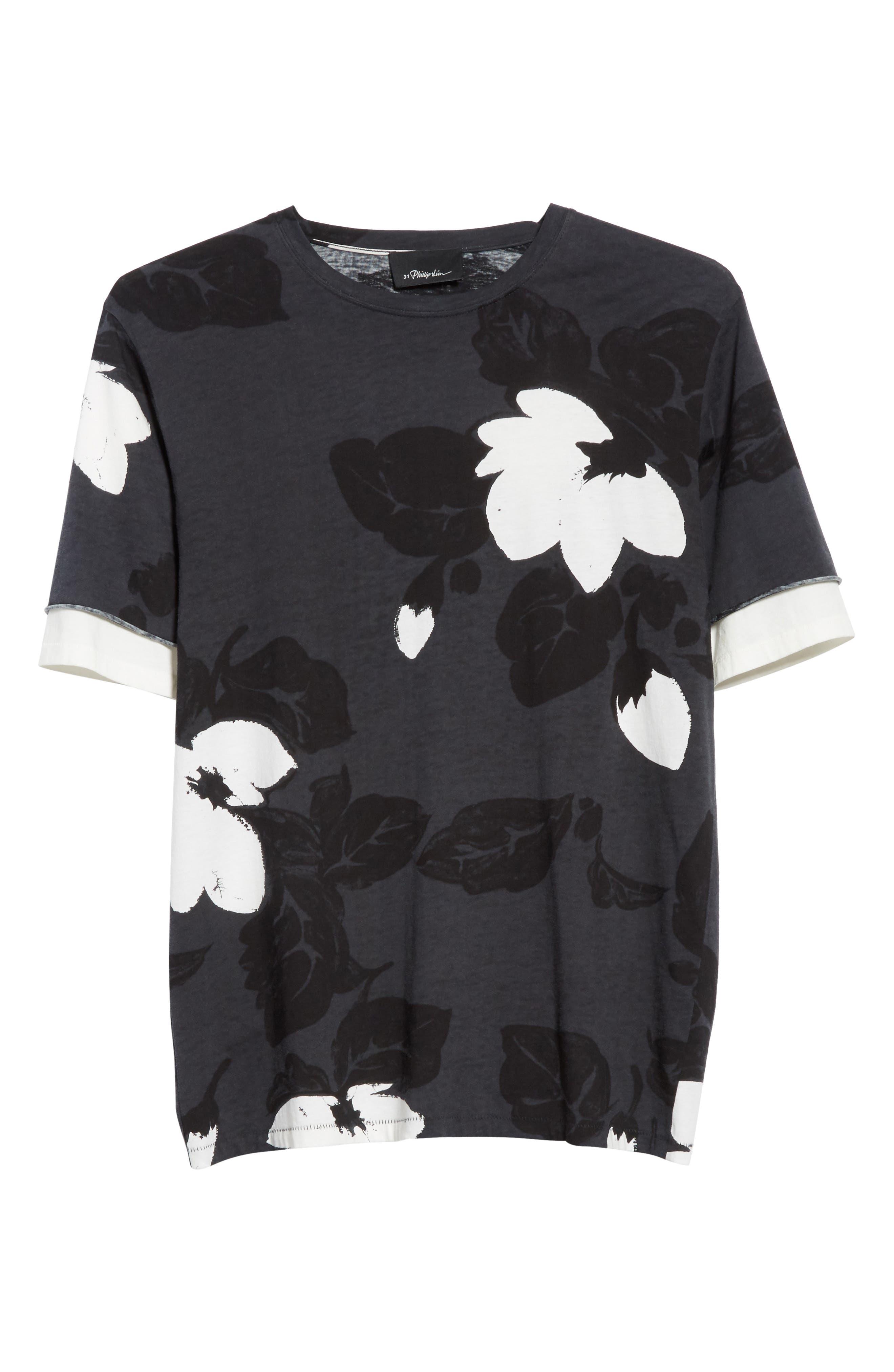 Double Sleeve Floral T-Shirt,                             Alternate thumbnail 6, color,                             SOFT BLACK