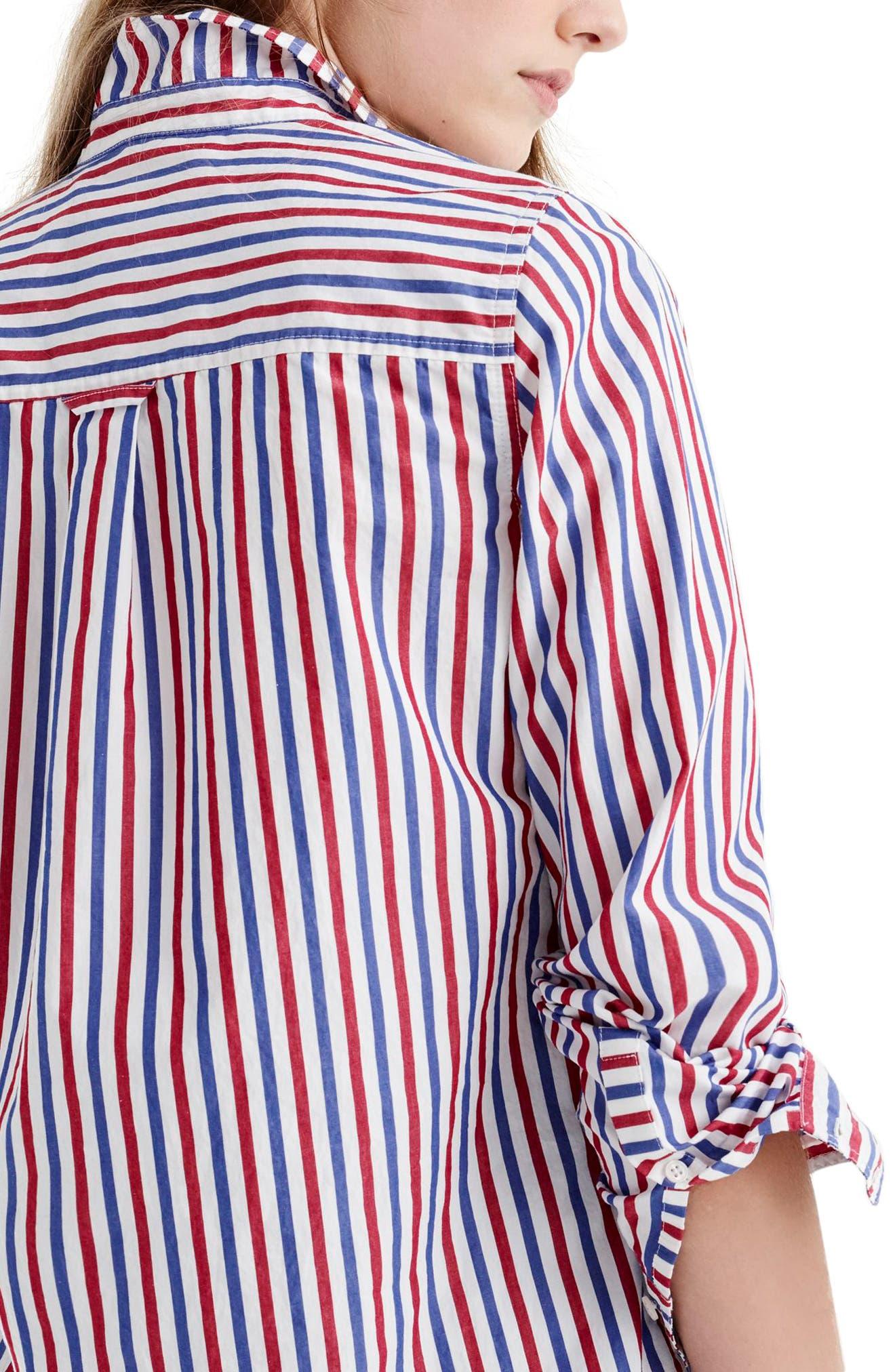 J. Crew Stripe Boyfriend Shirt,                             Alternate thumbnail 3, color,                             600
