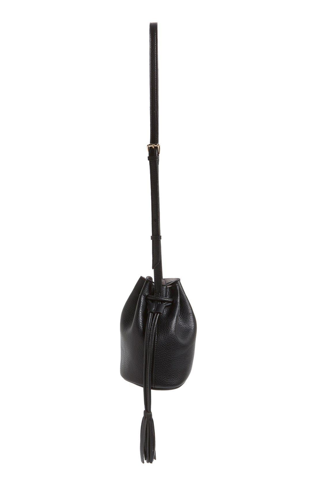 Mini Faux Leather Tassel Bucket Bag,                             Alternate thumbnail 5, color,                             001