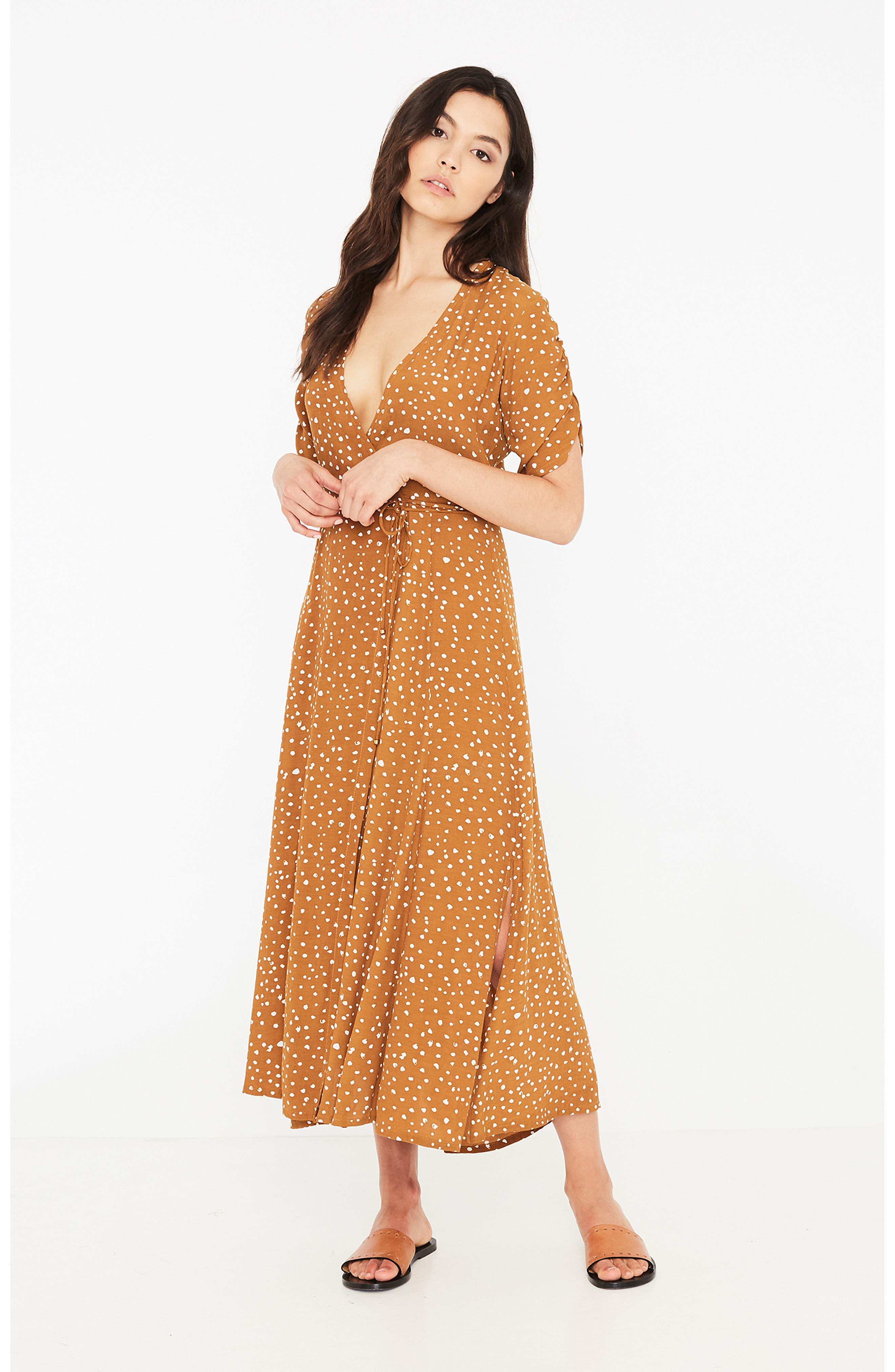 Chiara Dot Print Wrap Dress,                             Alternate thumbnail 6, color,                             700