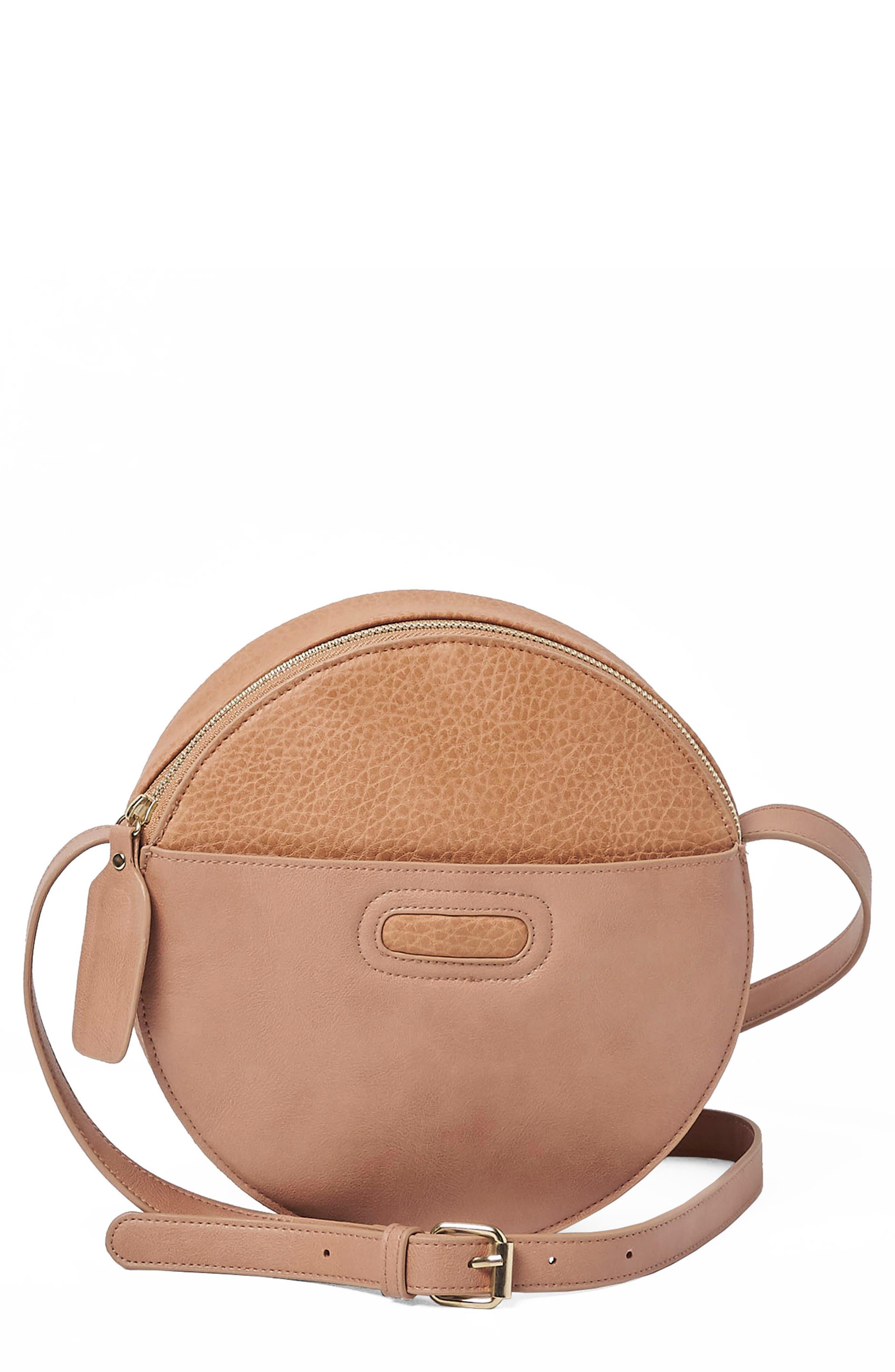 URBAN ORIGINALS Carousel Vegan Leather Crossbody Bag, Main, color, LATTE