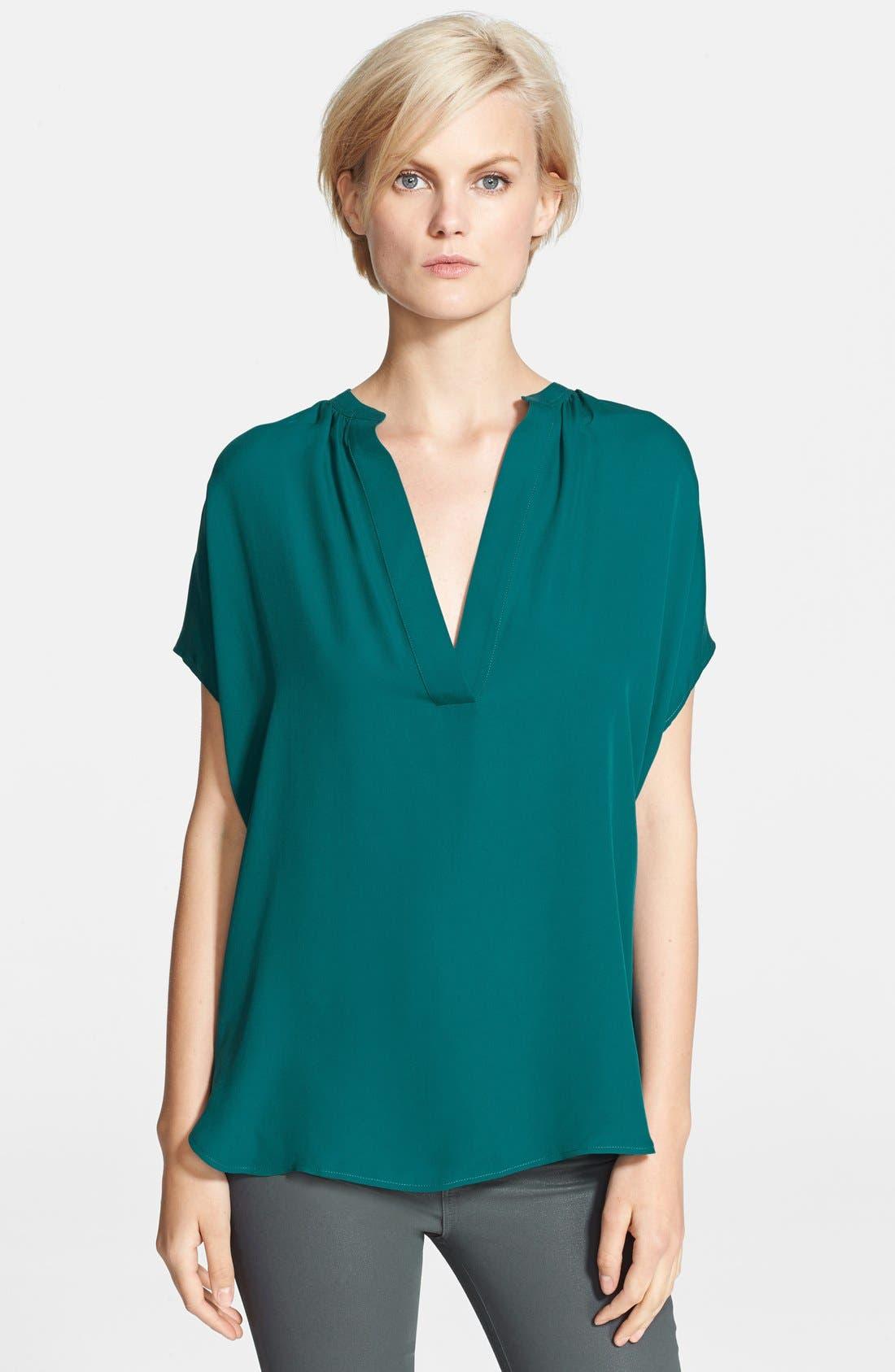 VINCE,                             'Popover' Cap Sleeve Silk Blouse,                             Main thumbnail 1, color,                             400