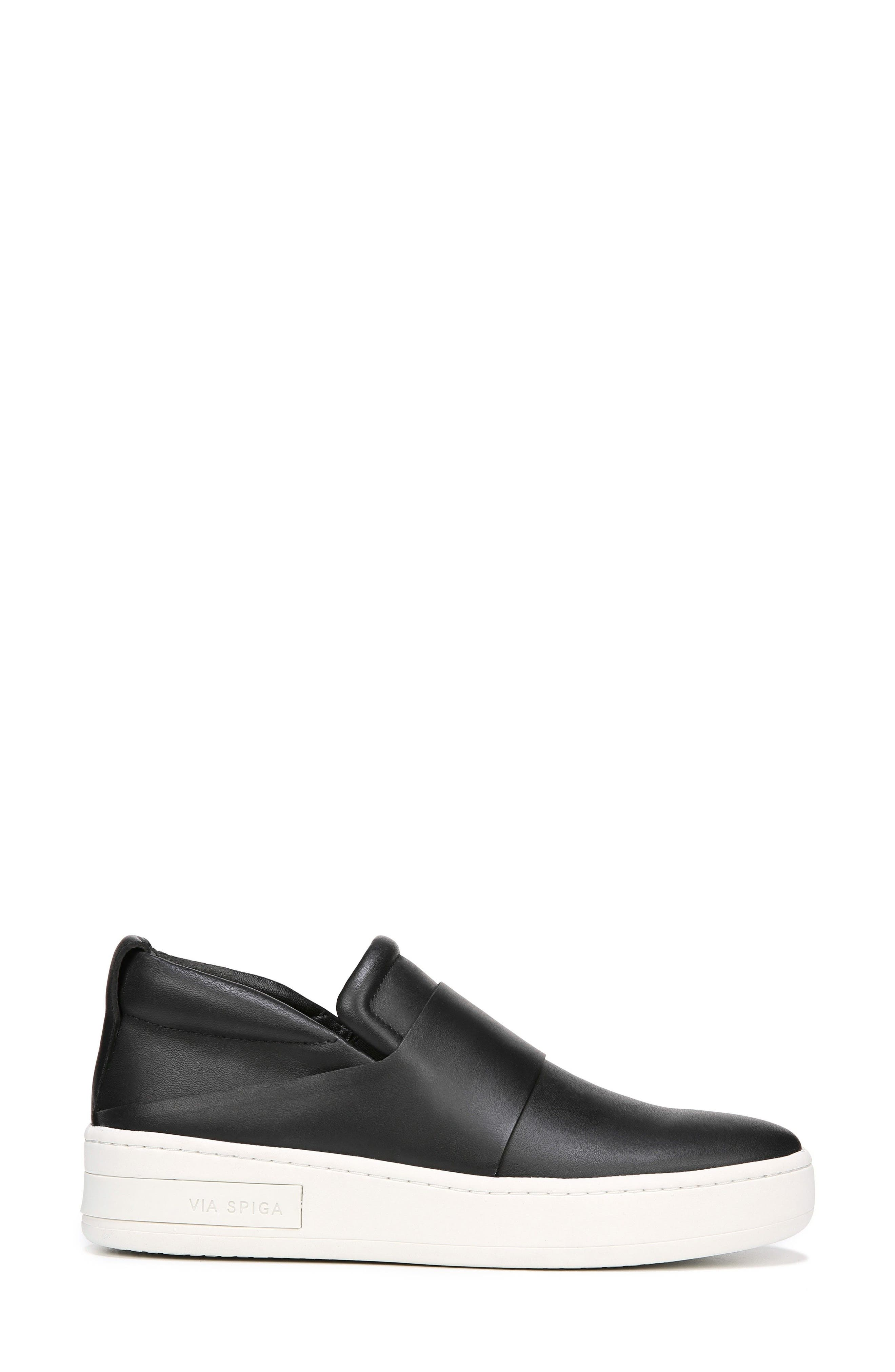 Ryder Slip-On Sneaker,                             Alternate thumbnail 3, color,                             BLACK LEATHER